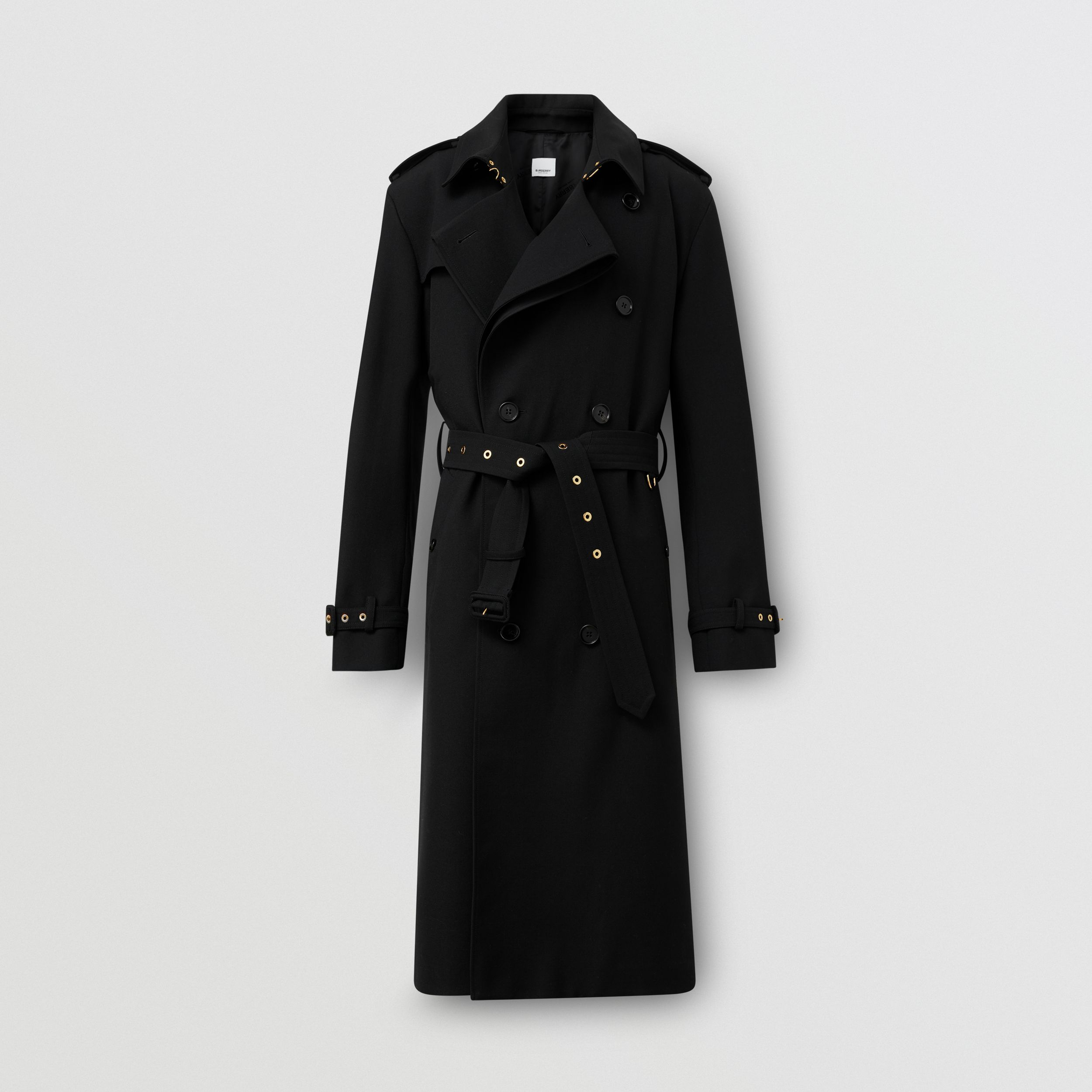 Wool Twill Loop-back Trench Coat in Black | Burberry - 4