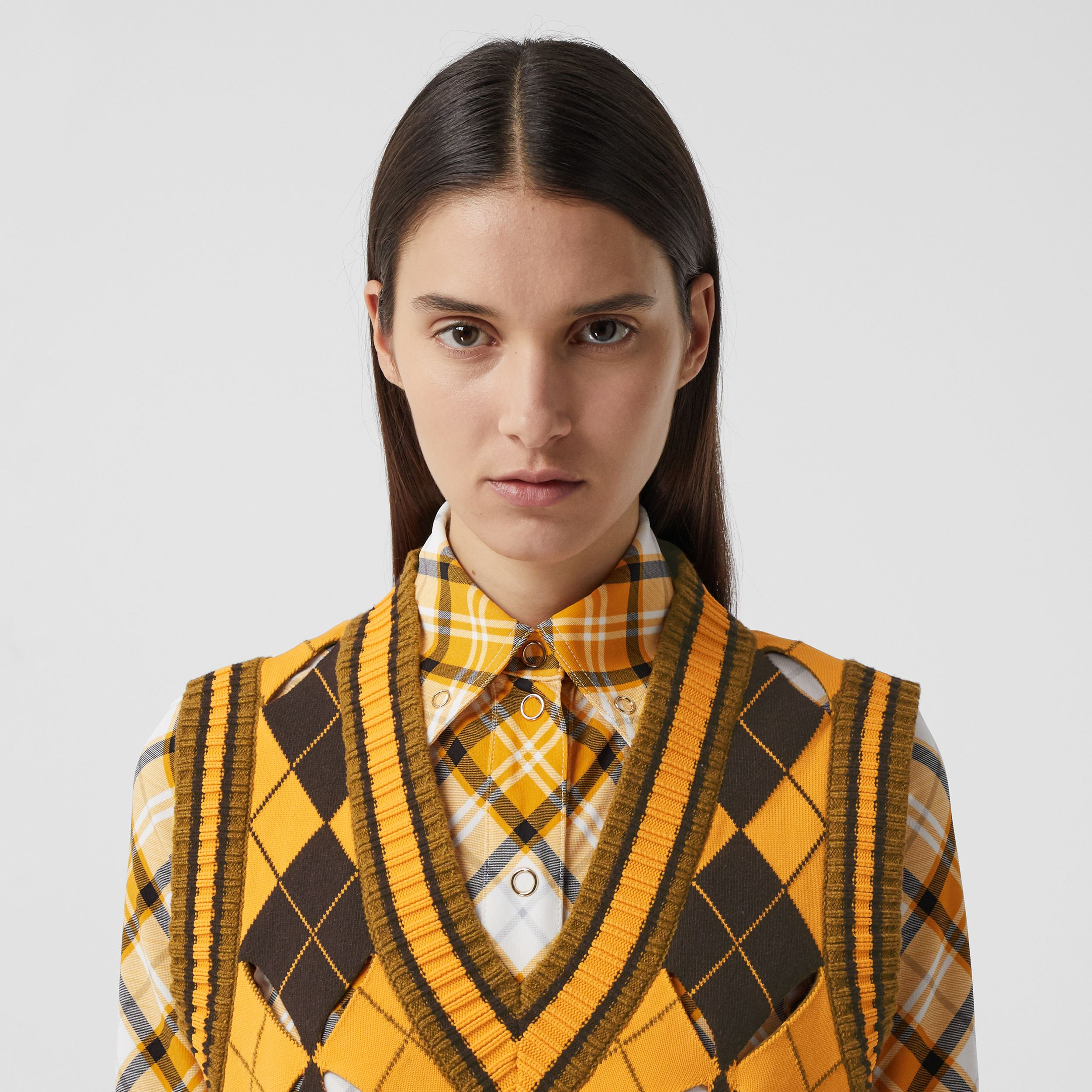 Cut-out Detail Argyle Technical Wool Jacquard Vest in Bright Orange - Women | Burberry - 2