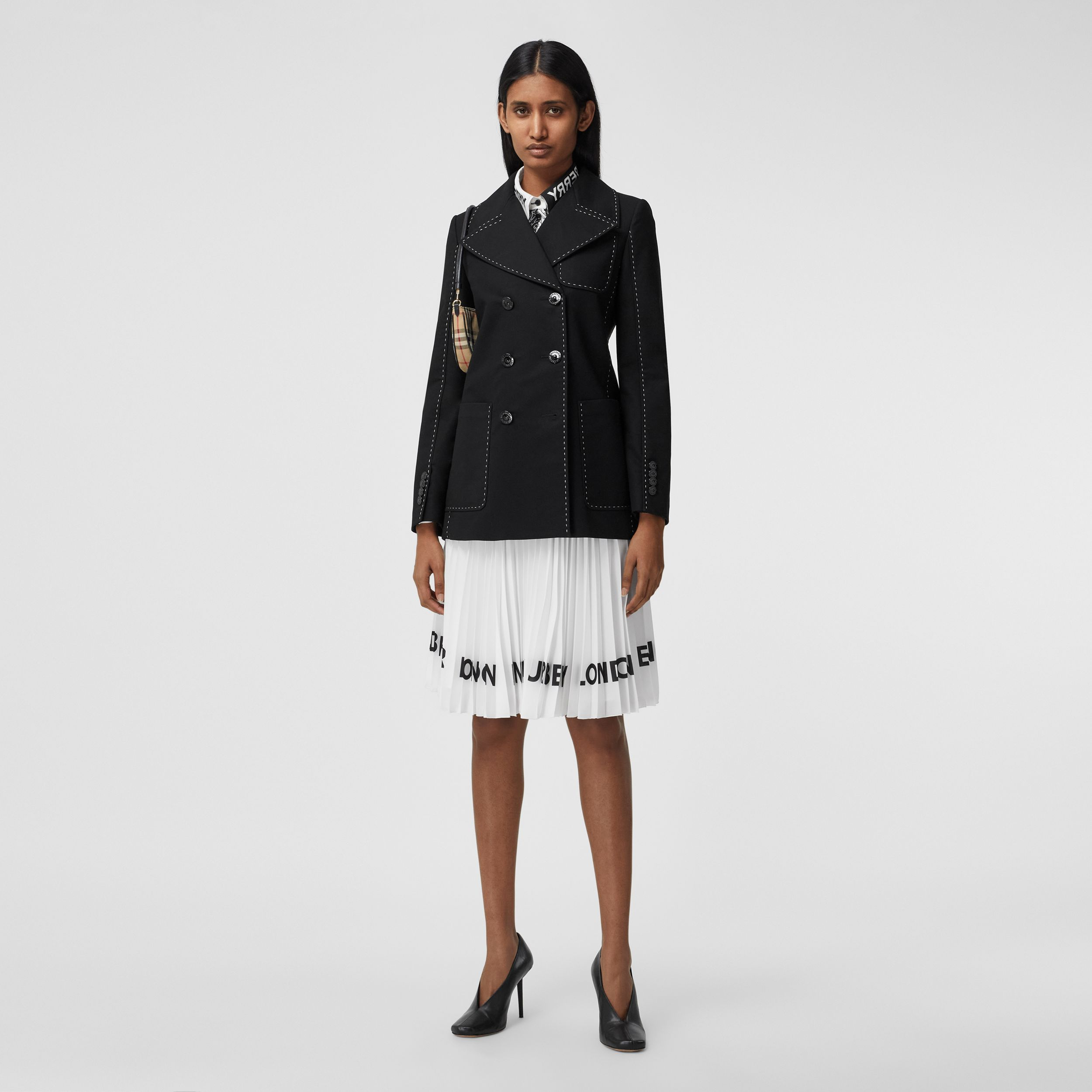 Topstitched Cotton Pea Coat in Black - Women | Burberry - 1