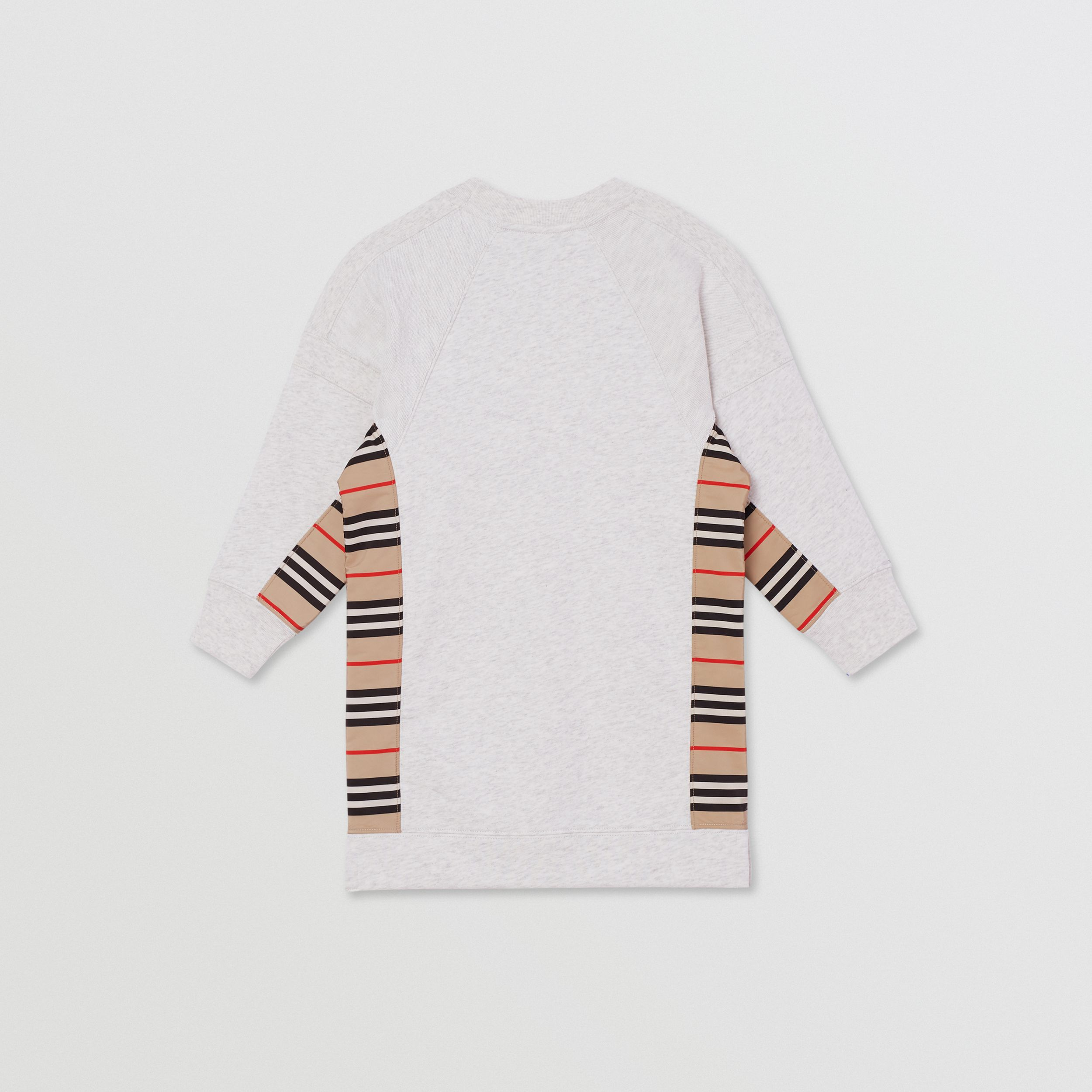 Icon Stripe Panel Cotton Sweater Dress in White Melange | Burberry - 3