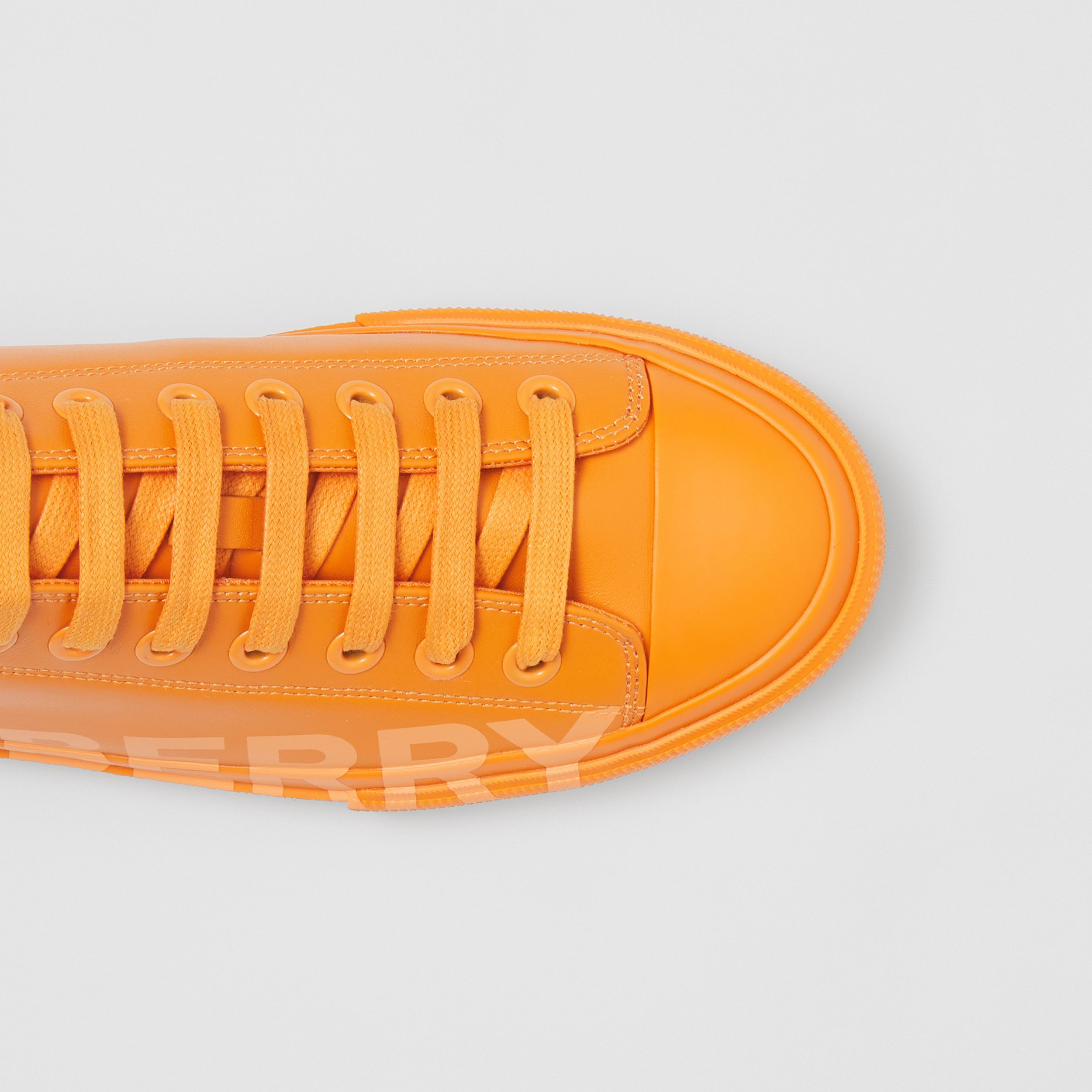 Logo Print Leather Sneakers – Online Exclusive in Deep Orange - Women | Burberry Hong Kong S.A.R. - 2