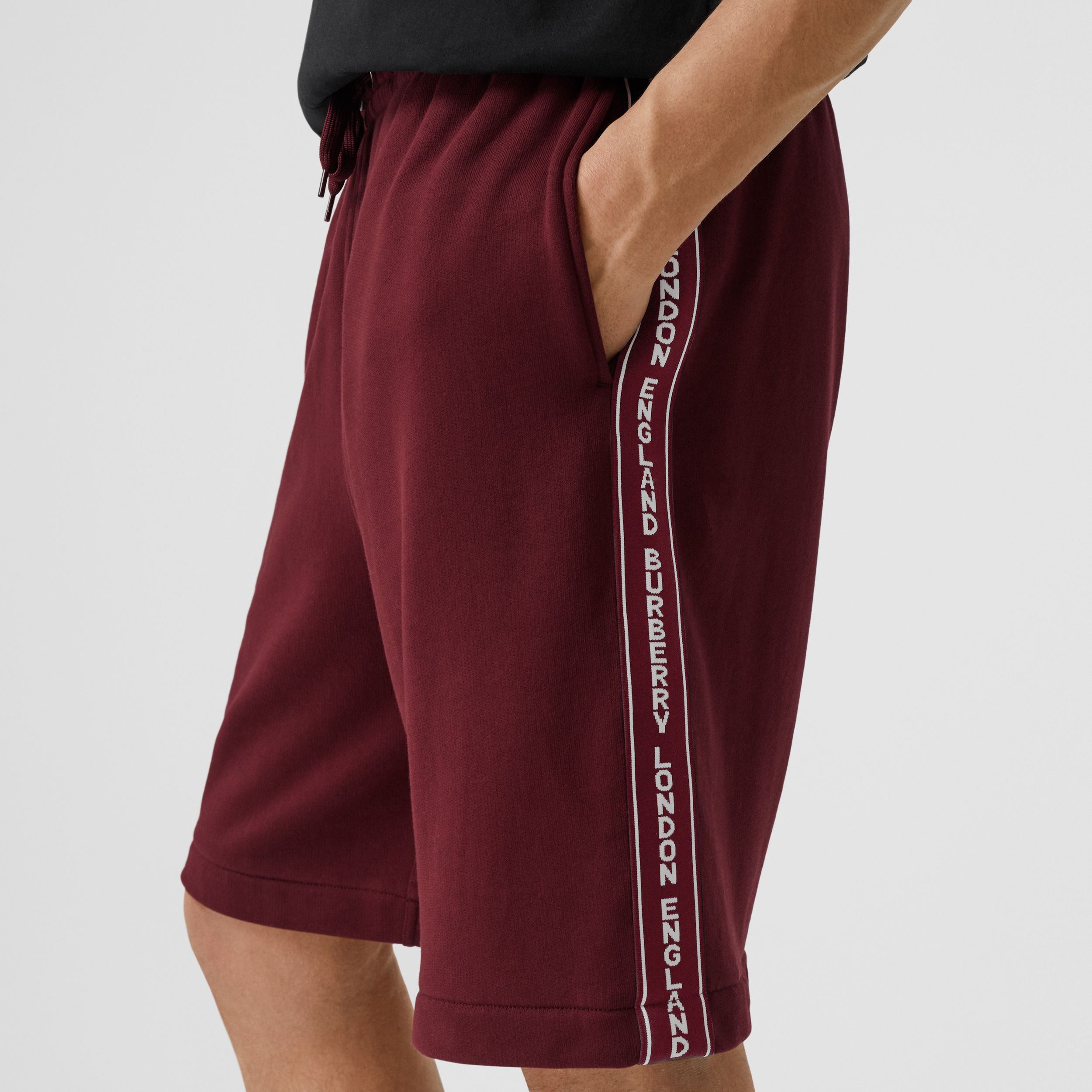 Logo Tape Cotton Drawcord Shorts in Deep Merlot - Men | Burberry Hong Kong S.A.R. - 2