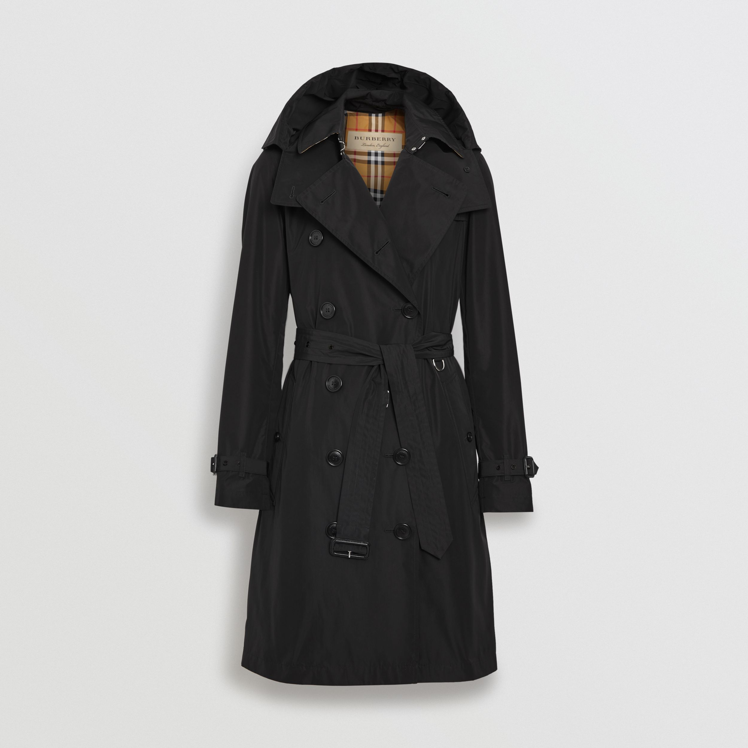 Detachable Hood Taffeta Trench Coat in Black - Women | Burberry - 4