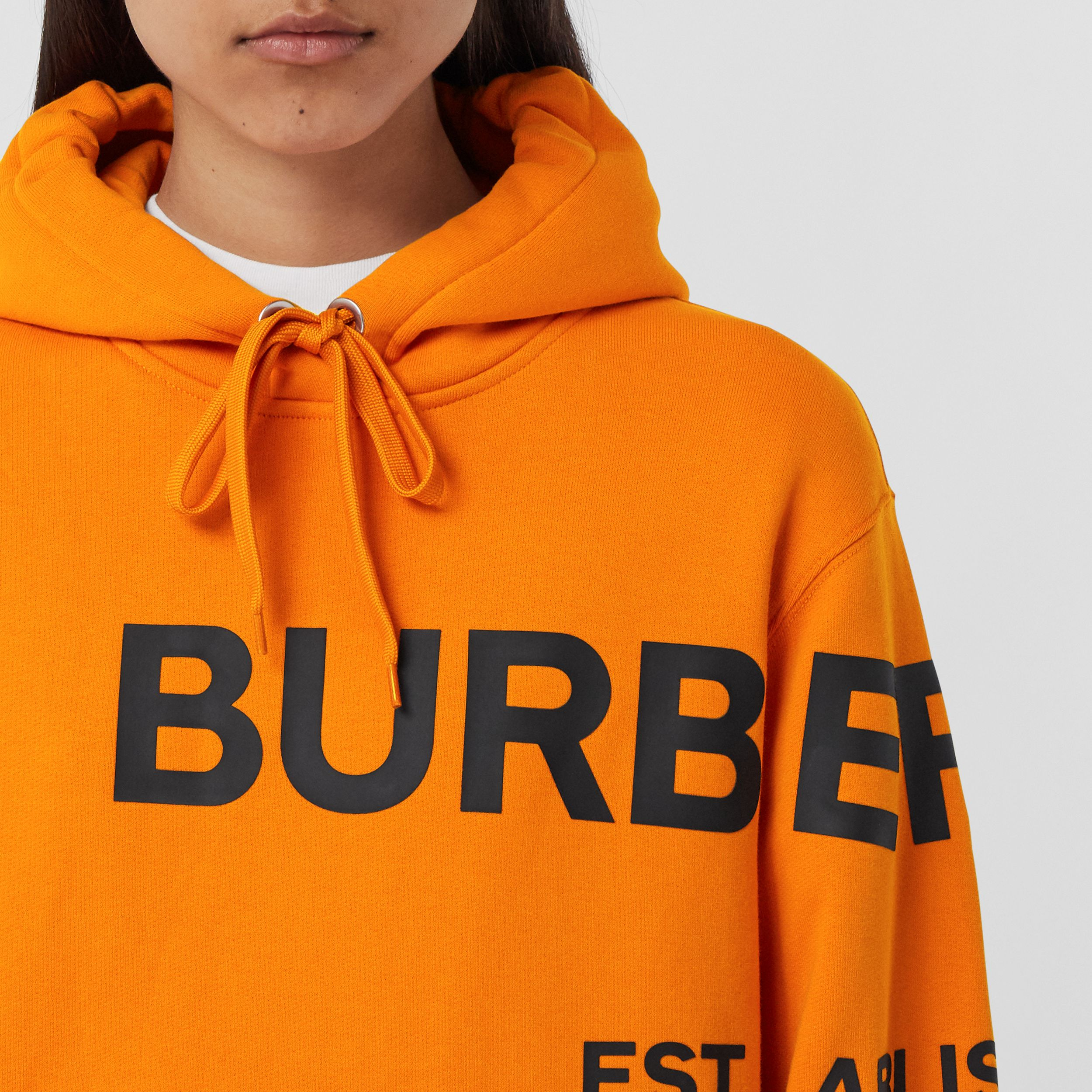 Horseferry Print Cotton Oversized Hoodie in Deep Orange - Women | Burberry - 2
