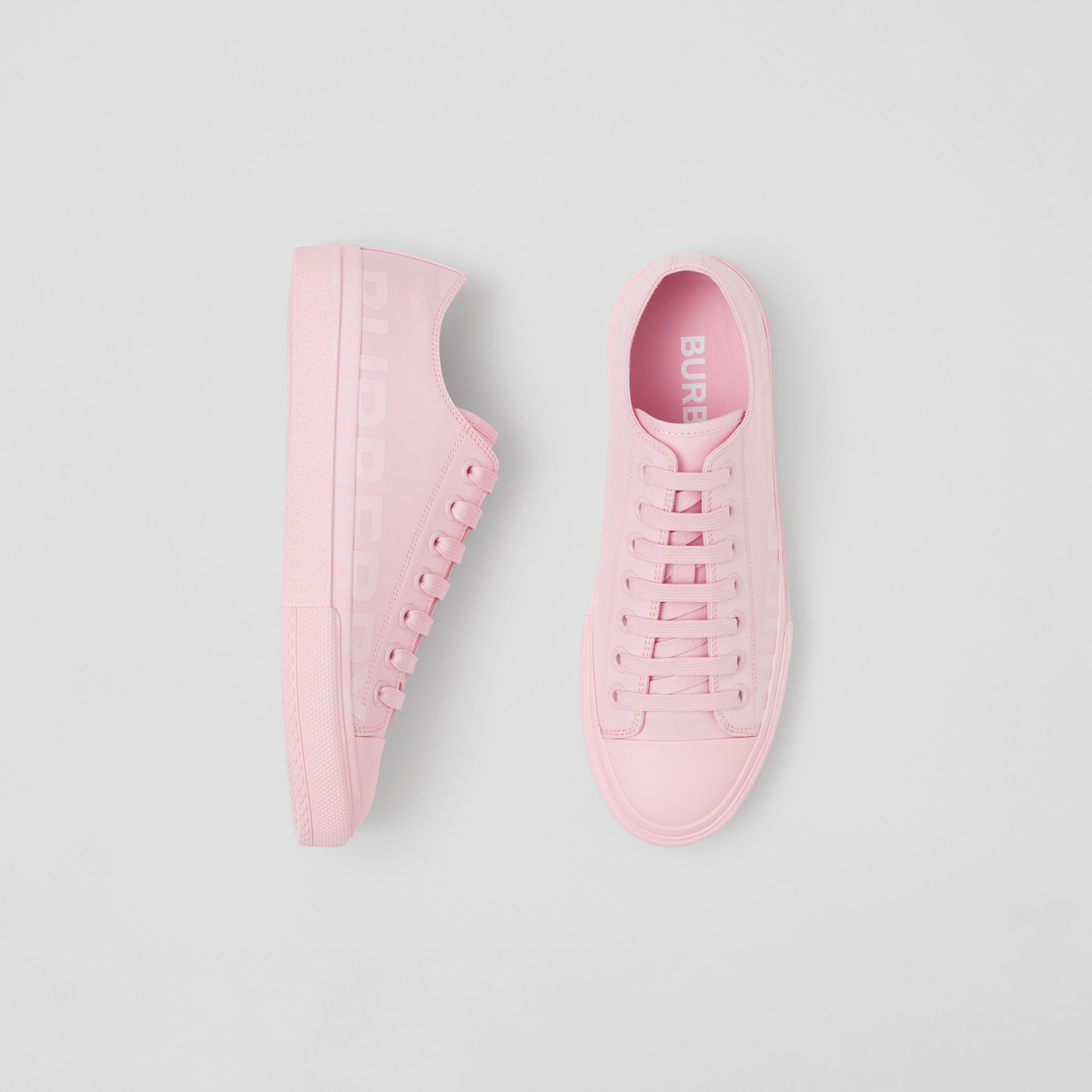 Logo Print Cotton Gabardine Sneakers in Orchid Pink - Women | Burberry - 1