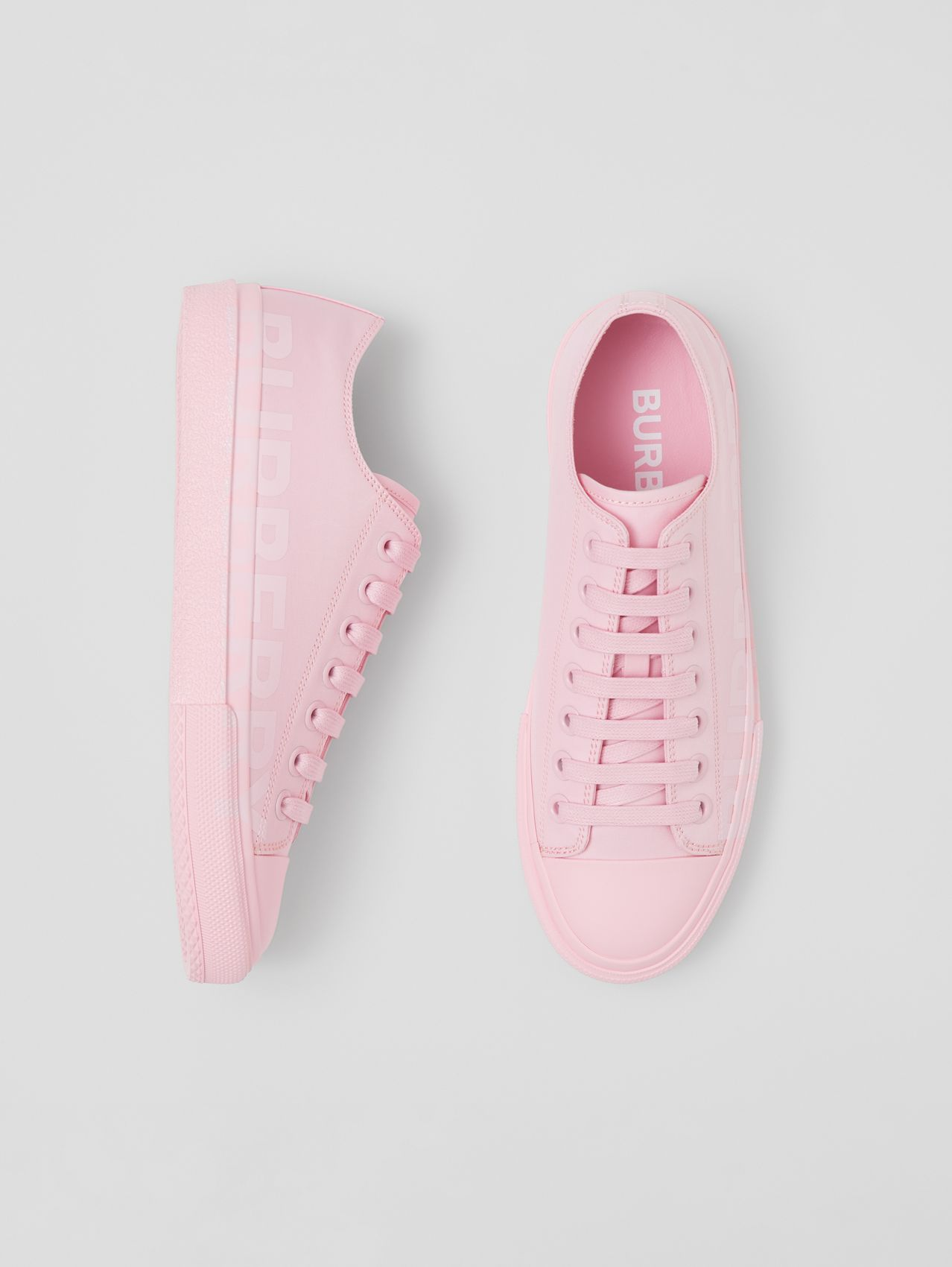 Logo Print Cotton Gabardine Sneakers in Orchid Pink