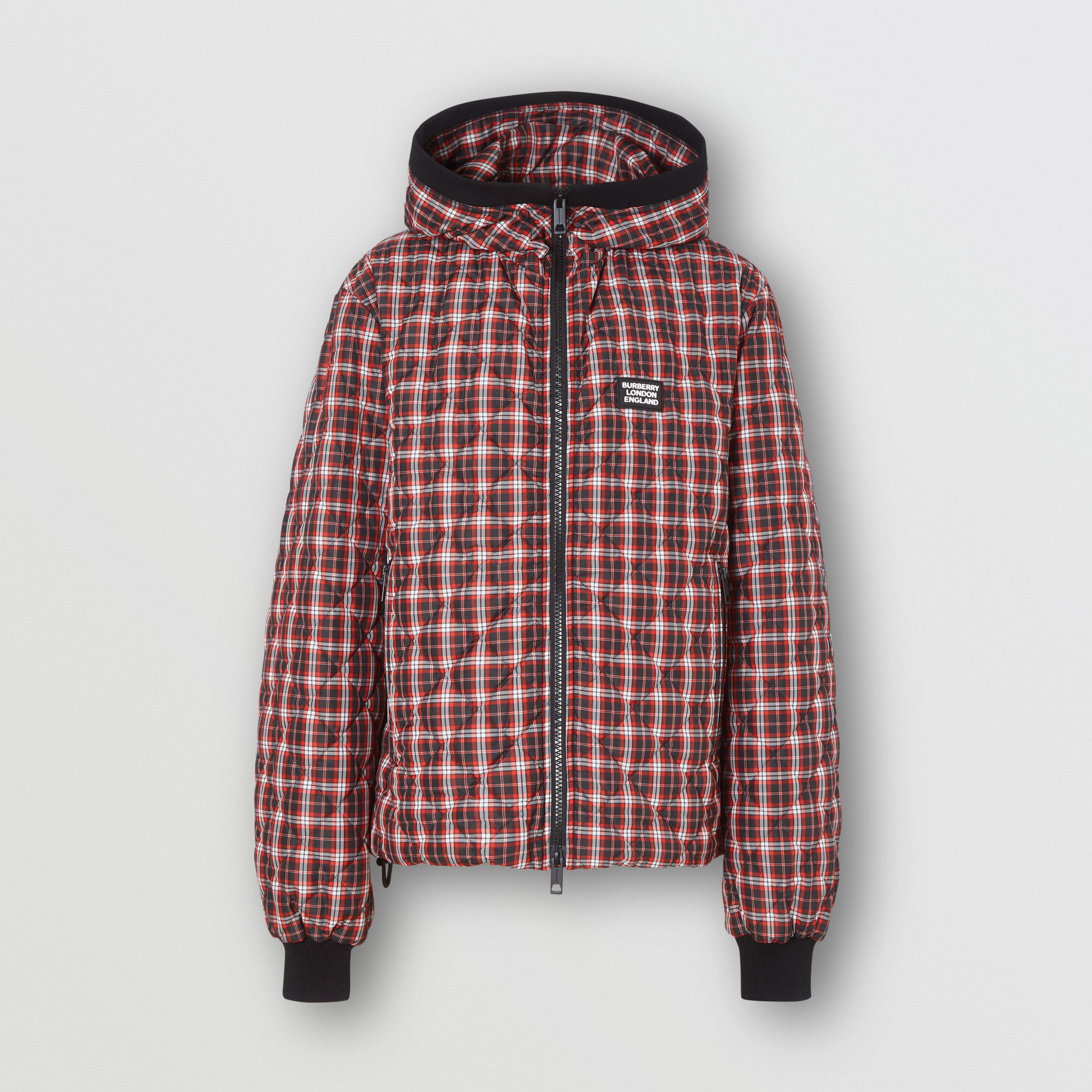 Diamond Quilted Check Hooded Jacket in Bright Red | Burberry - 4