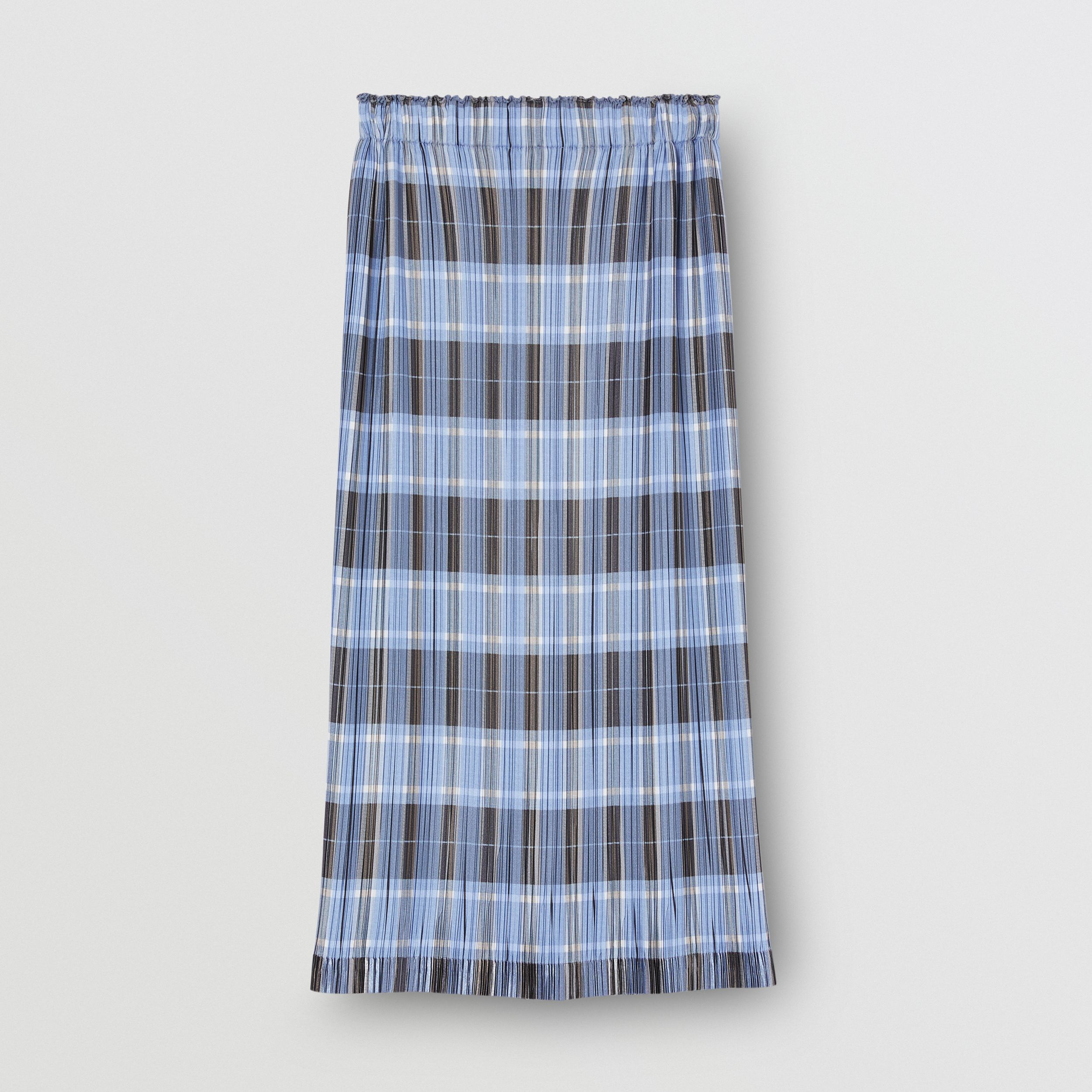 Check Plissé Skirt in Pale Blue - Women | Burberry United States - 4
