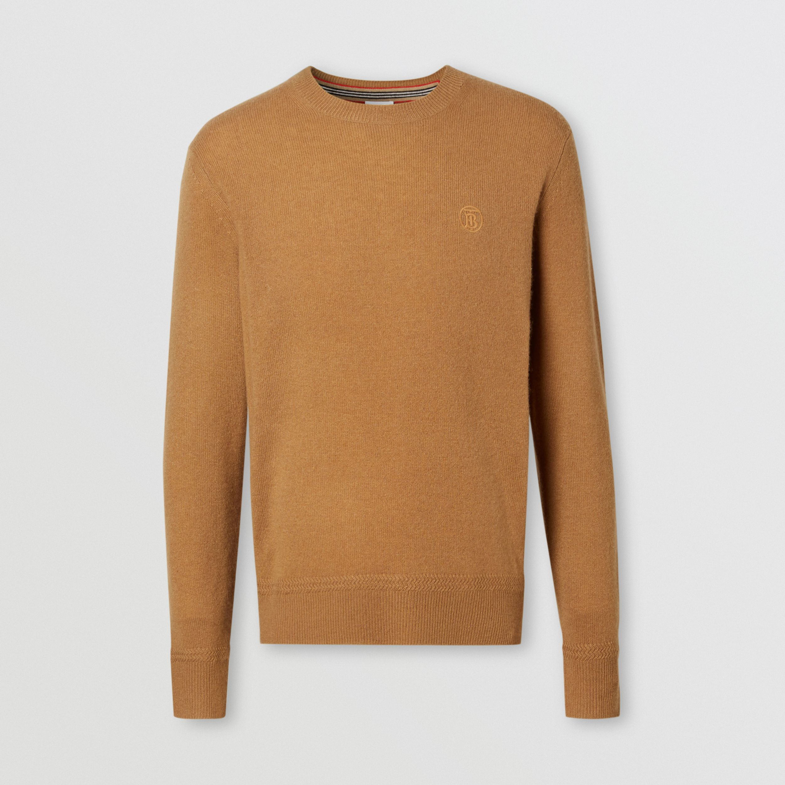 Monogram Motif Cashmere Sweater in Camel - Men | Burberry Singapore - 4
