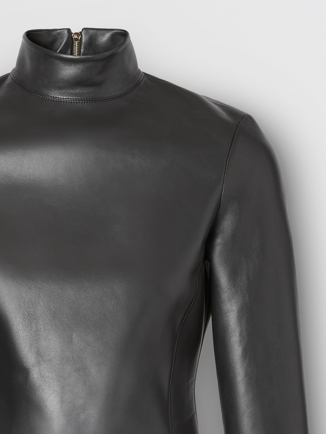 Stretch Lambskin Turtleneck Top in Black