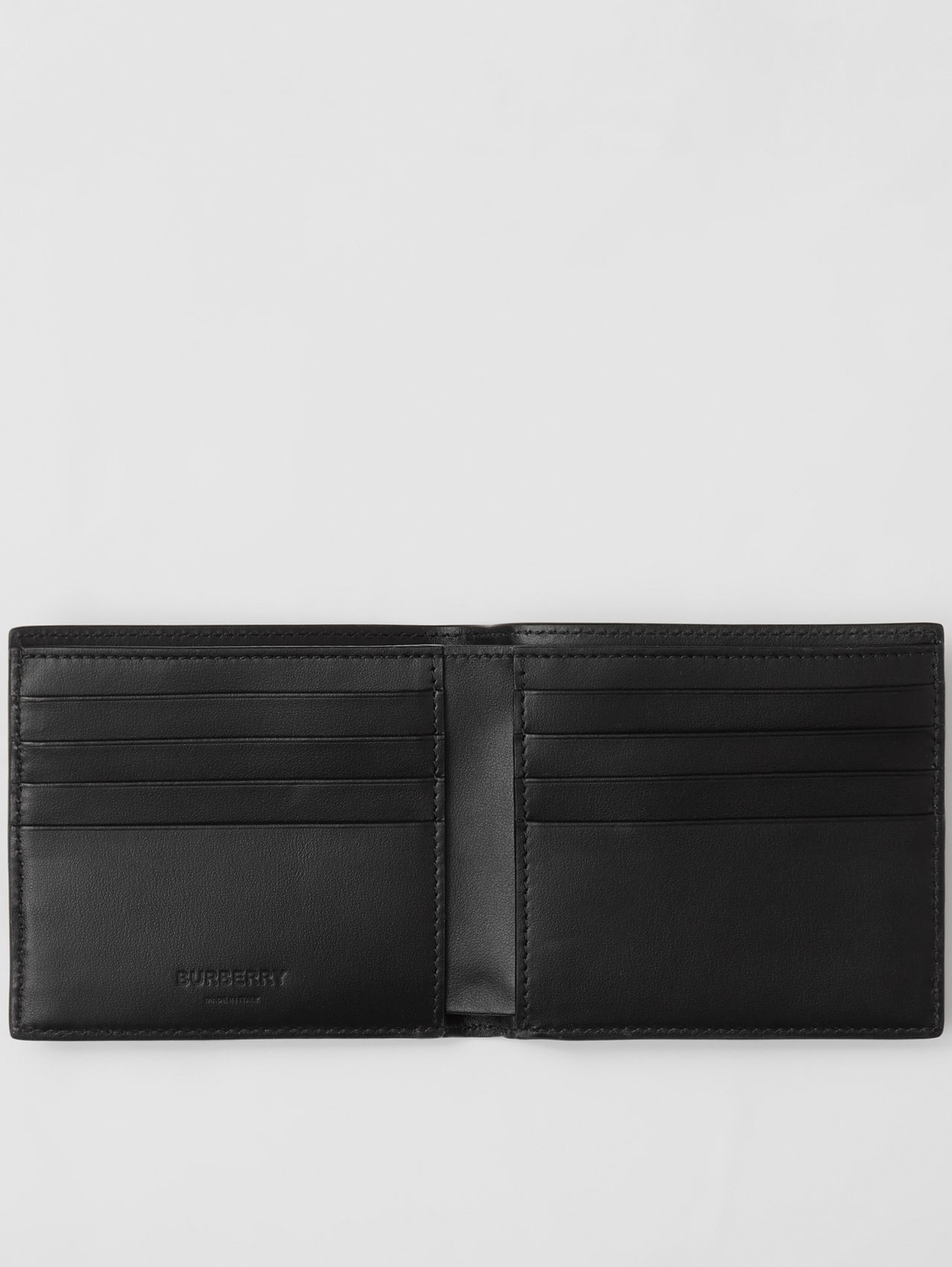 Horseferry Print Leather International Bifold Wallet in Black