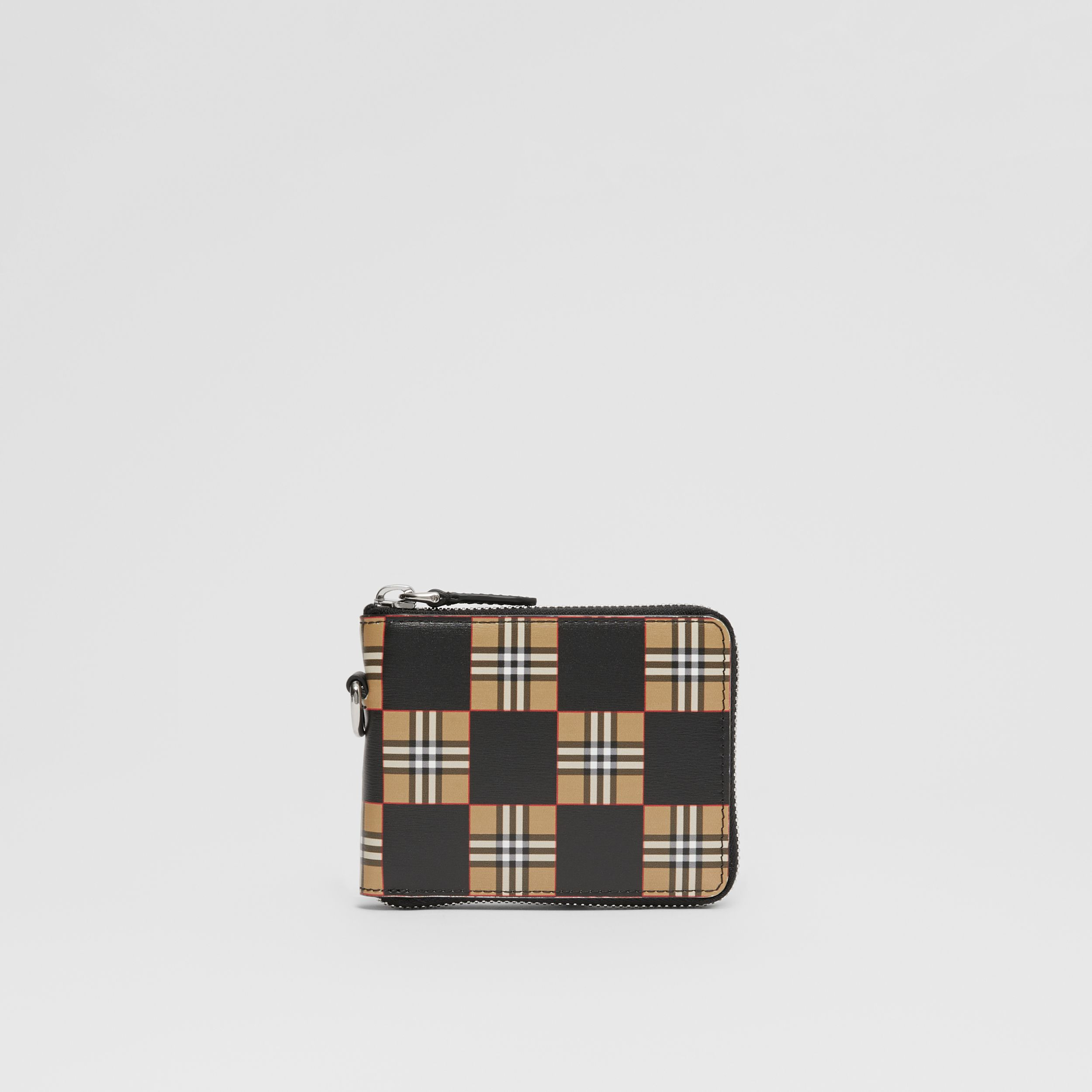 Chequer Print Leather Ziparound Wallet in Archive Beige/black - Men | Burberry Canada - 1