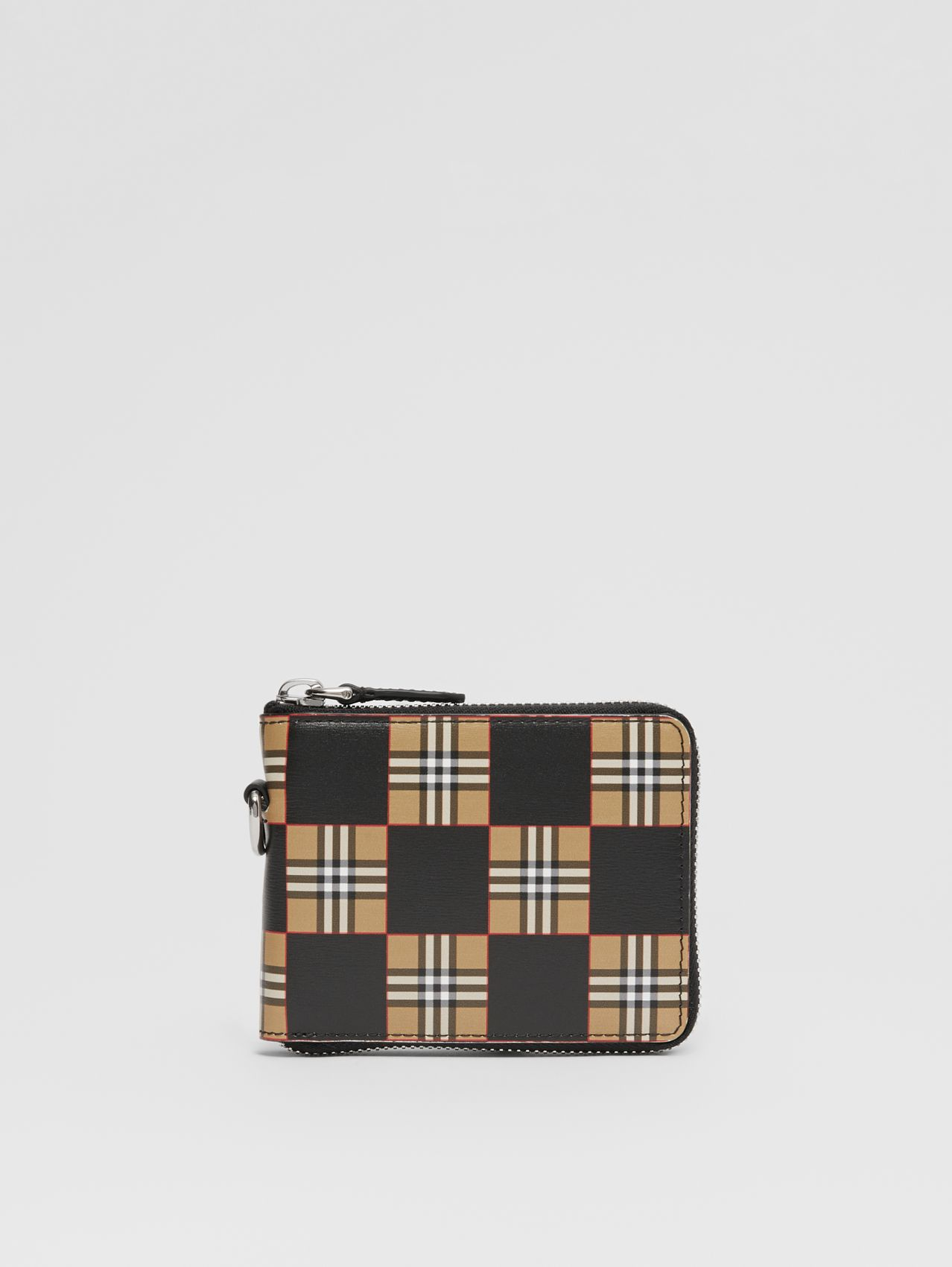 Chequer Print Leather Ziparound Wallet in Archive Beige/black