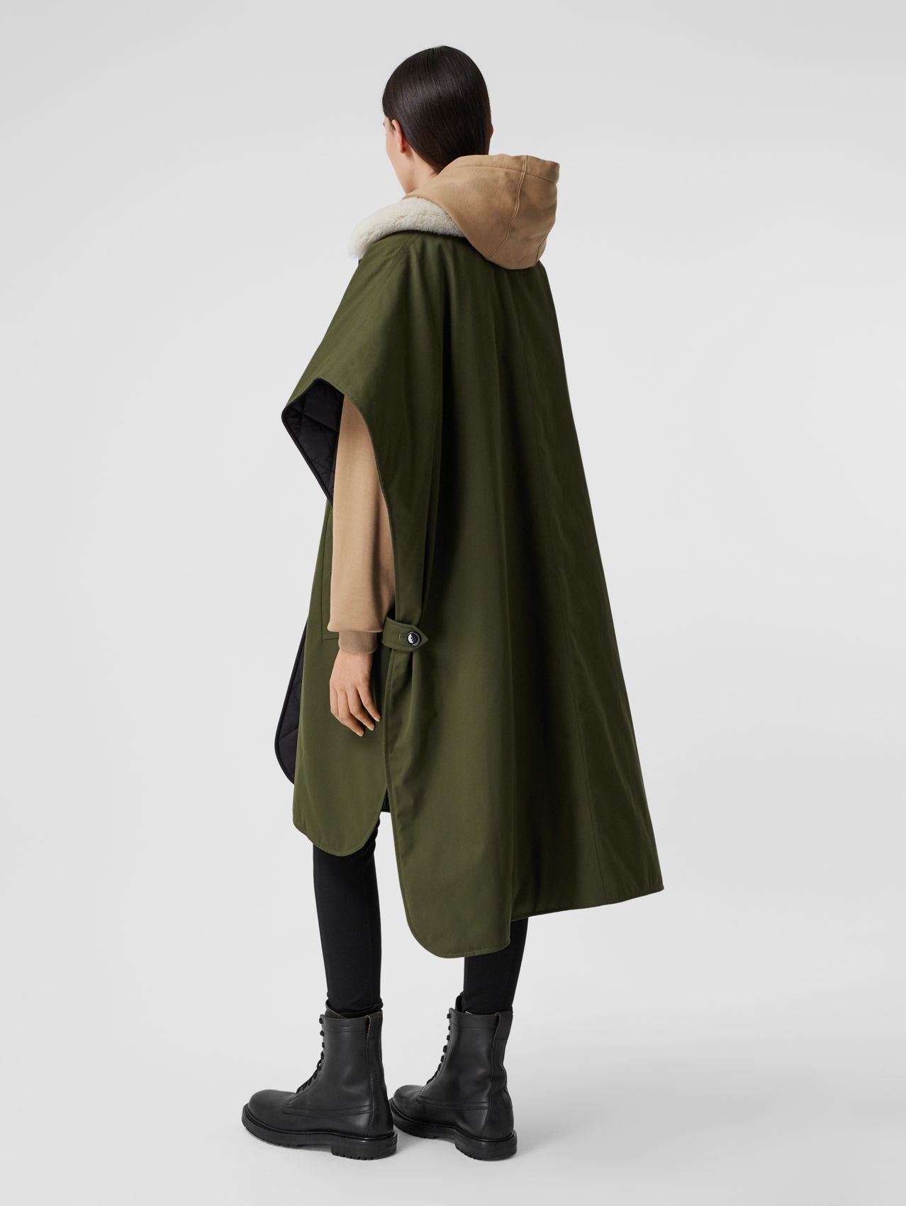 Fleece Collar Reversible Cotton Gabardine Cape in Dark Olive Green