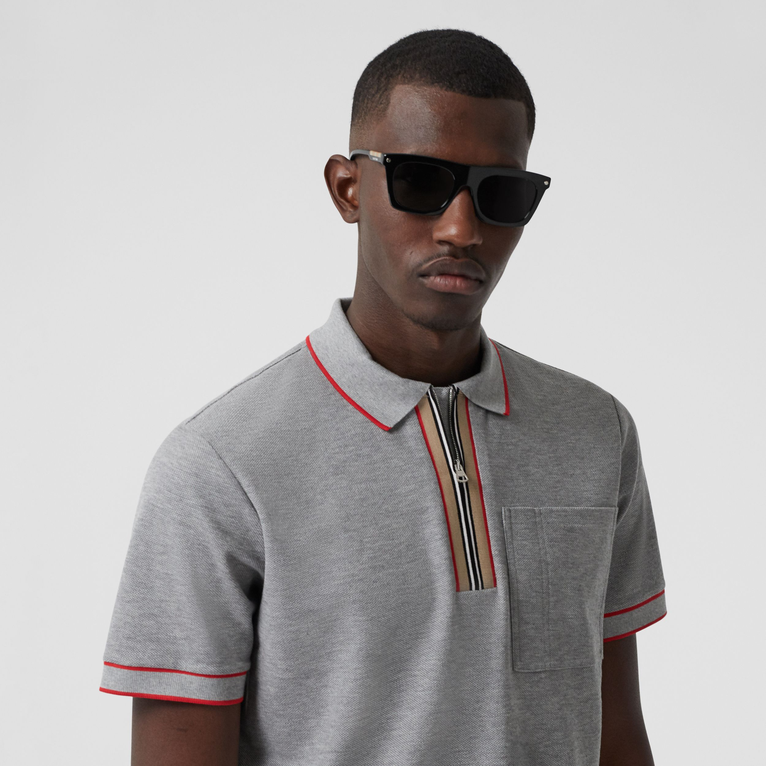 Icon Stripe Detail Cotton Zip-front Polo Shirt in Pale Grey Melange - Men | Burberry - 2