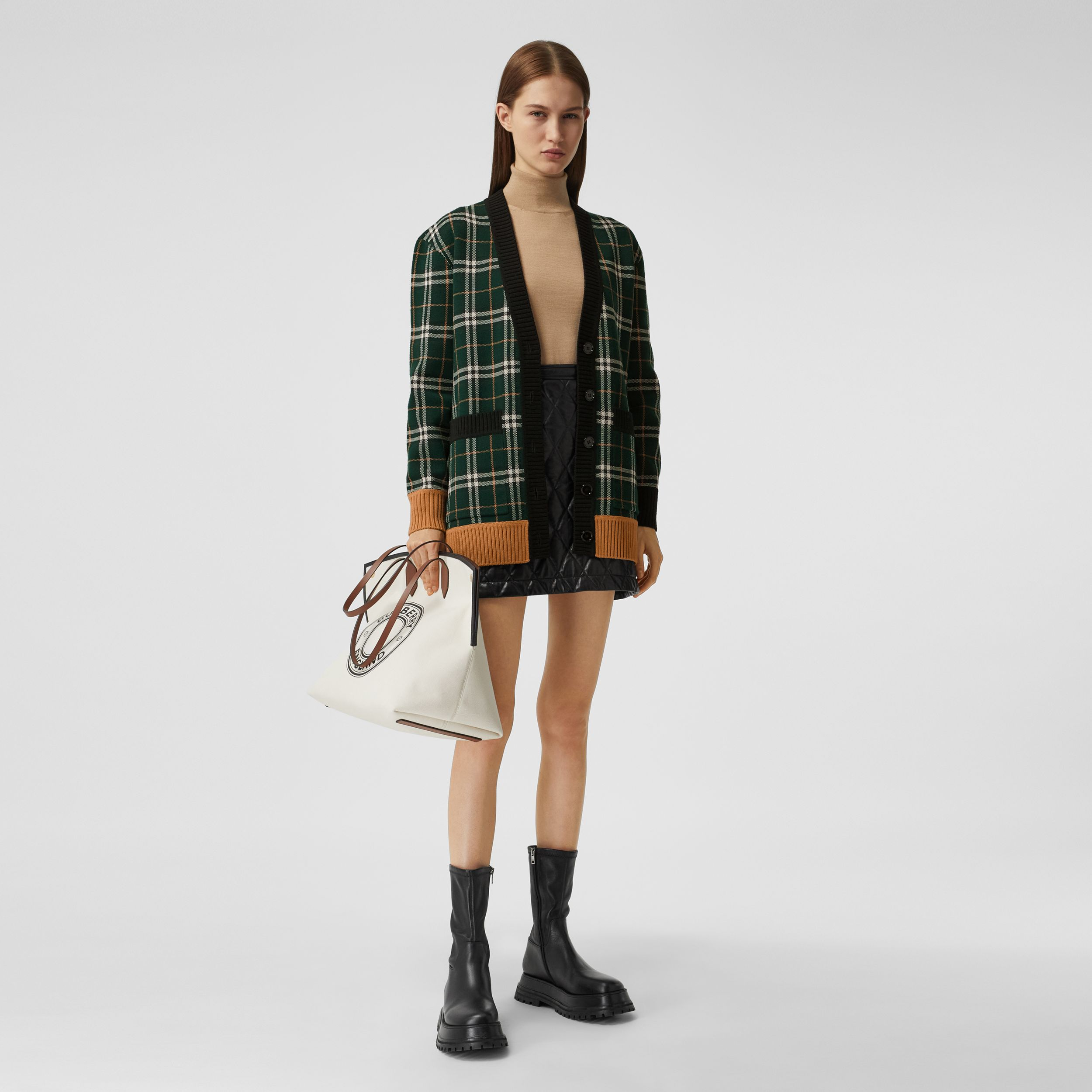 Check Technical Merino Wool Jacquard Cardigan in Bottle Green - Women | Burberry - 1