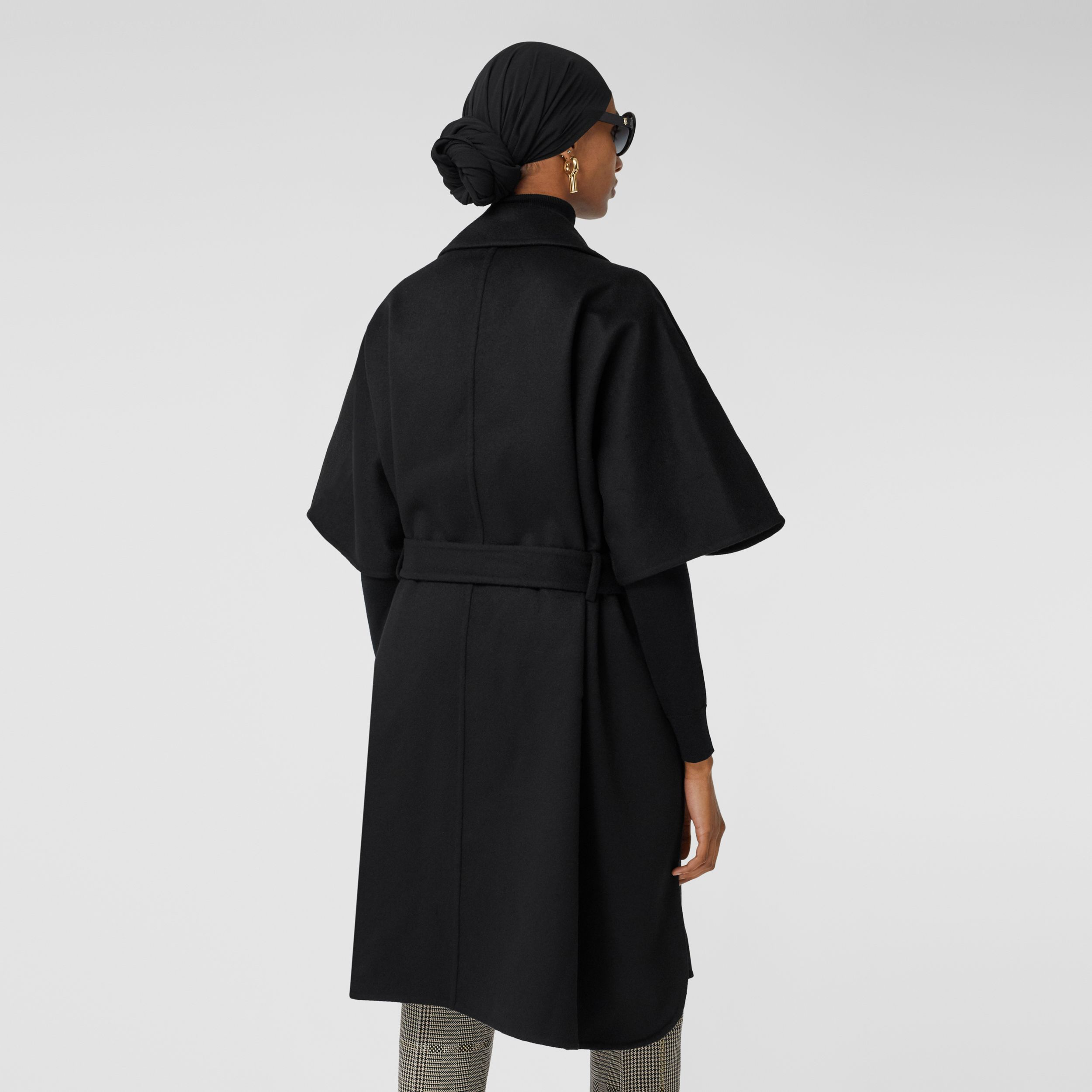 Double-faced Cashmere Belted Cape in Black - Women | Burberry - 3