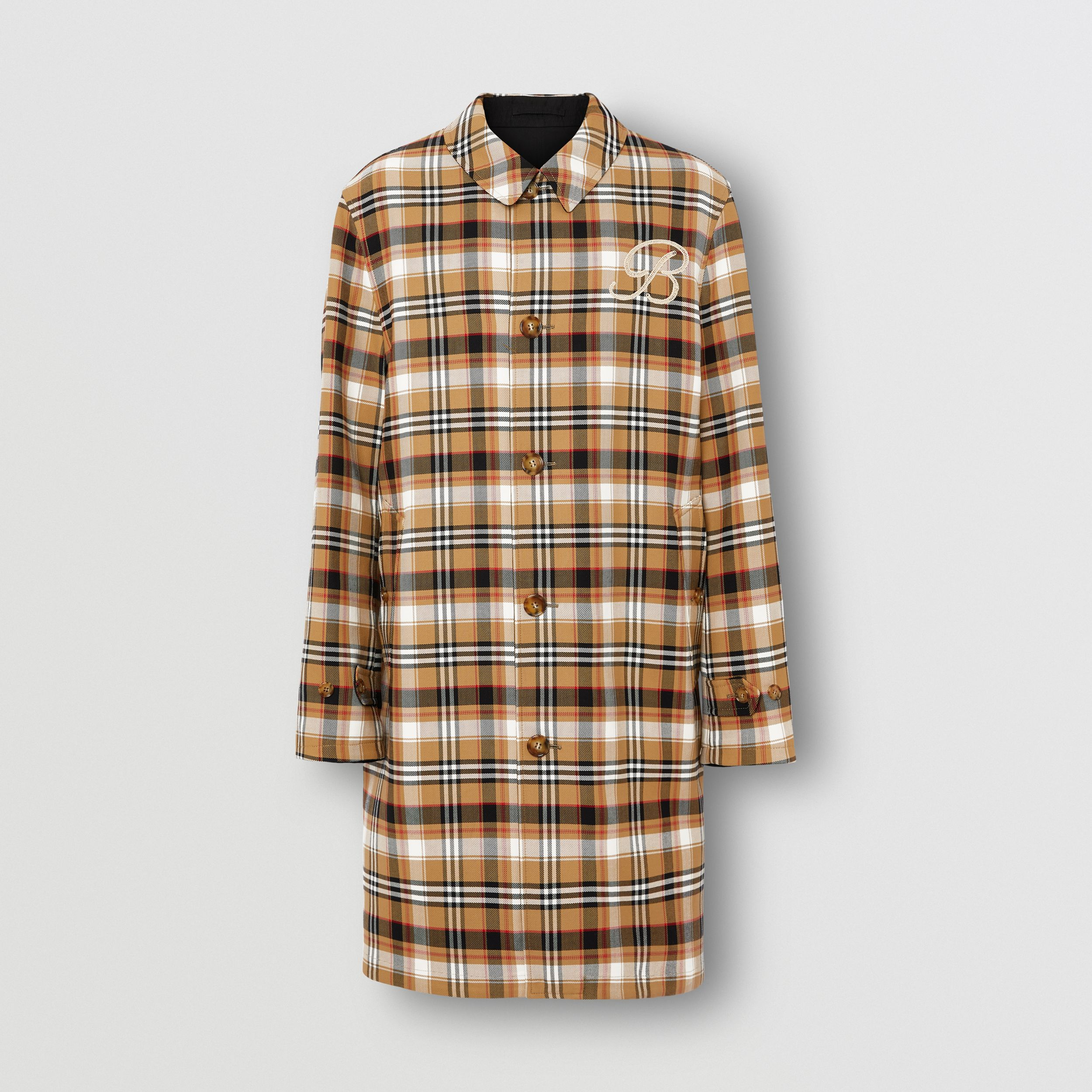 Reversible Check Wool Cotton Car Coat in Archive Beige - Men | Burberry United Kingdom - 4