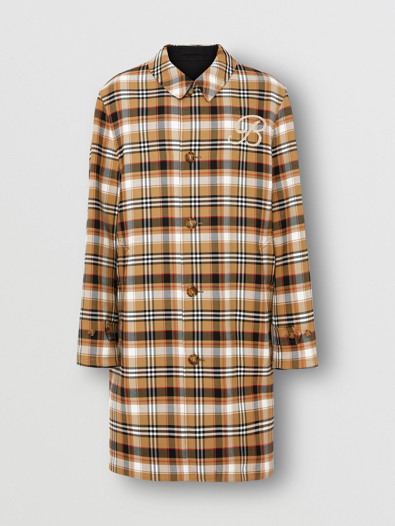Reversible Check Wool Cotton Car Coat in Archive Beige