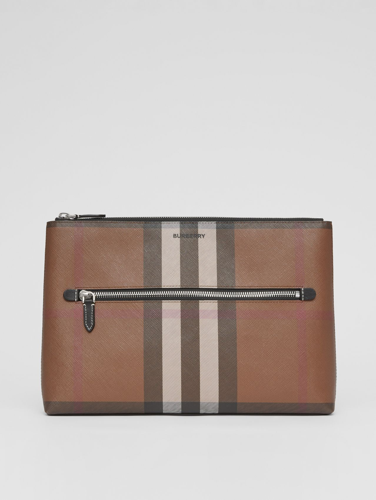 Logo Print Check E-canvas Zip Pouch in Dark Birch Brown