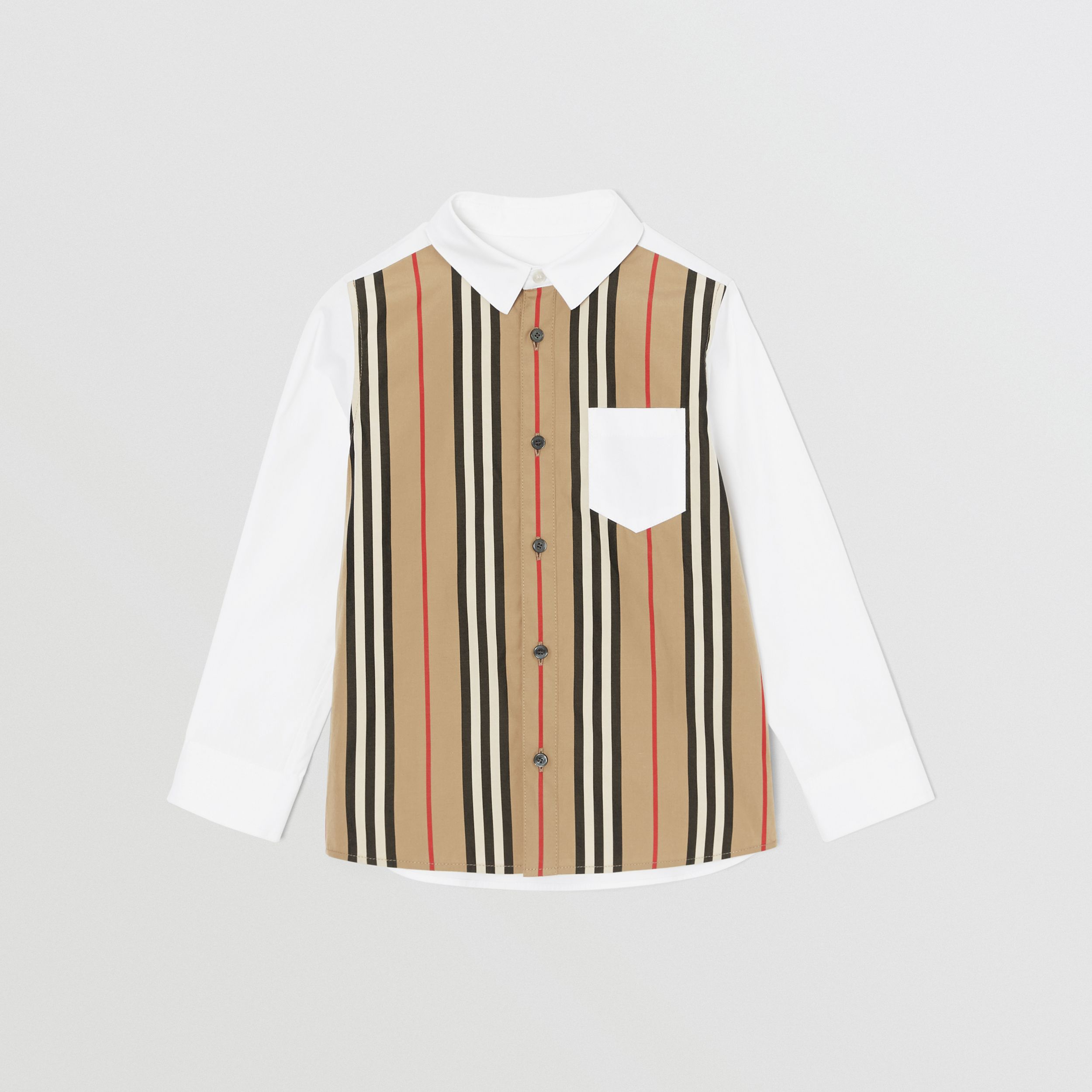 Icon Stripe Panel Stretch Cotton Shirt in White | Burberry - 1