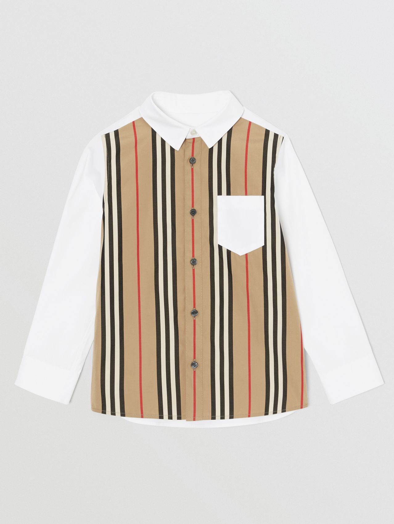 Icon Stripe Panel Stretch Cotton Shirt (White)