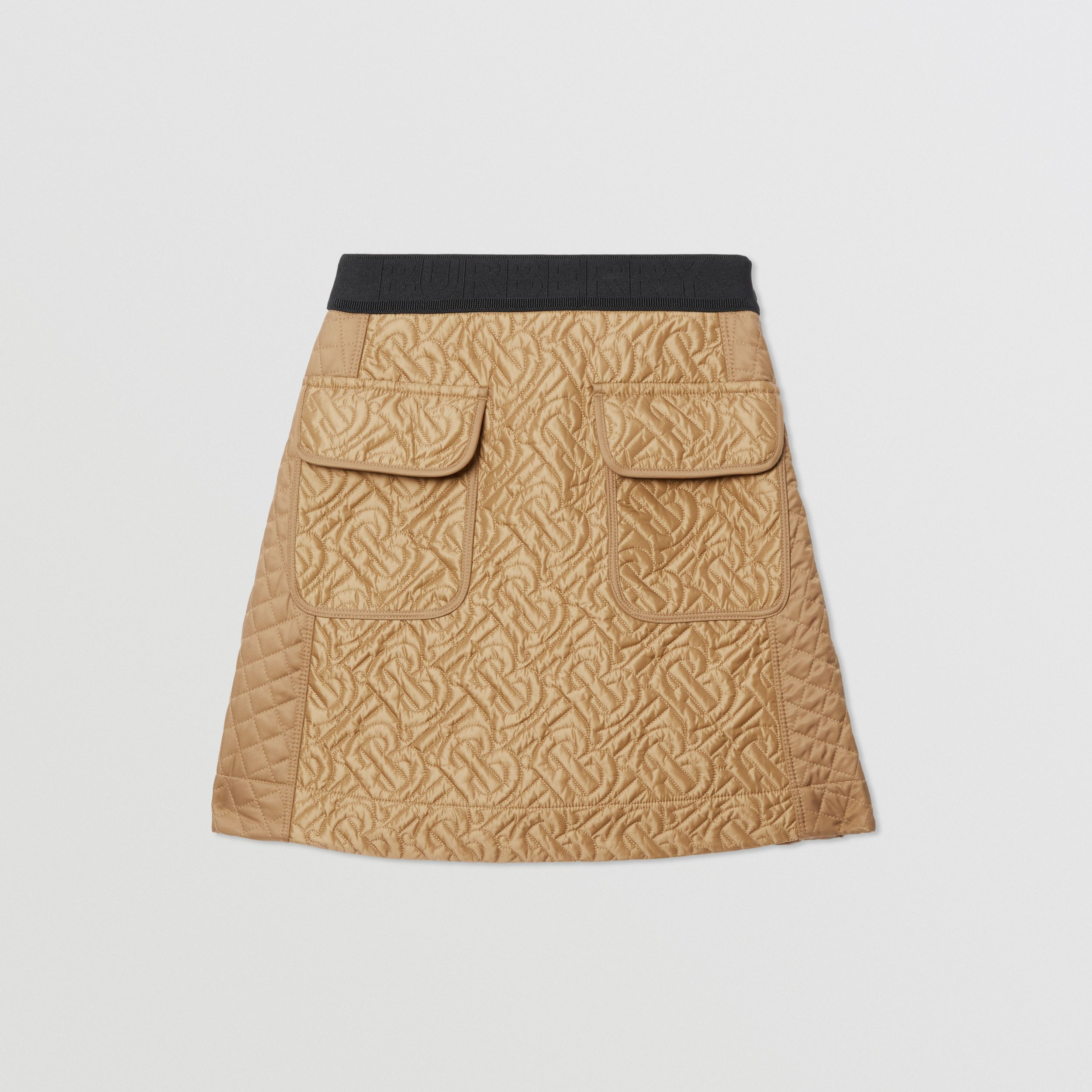 Monogram Quilted Panel Recycled Polyester Skirt in Honey | Burberry - 1