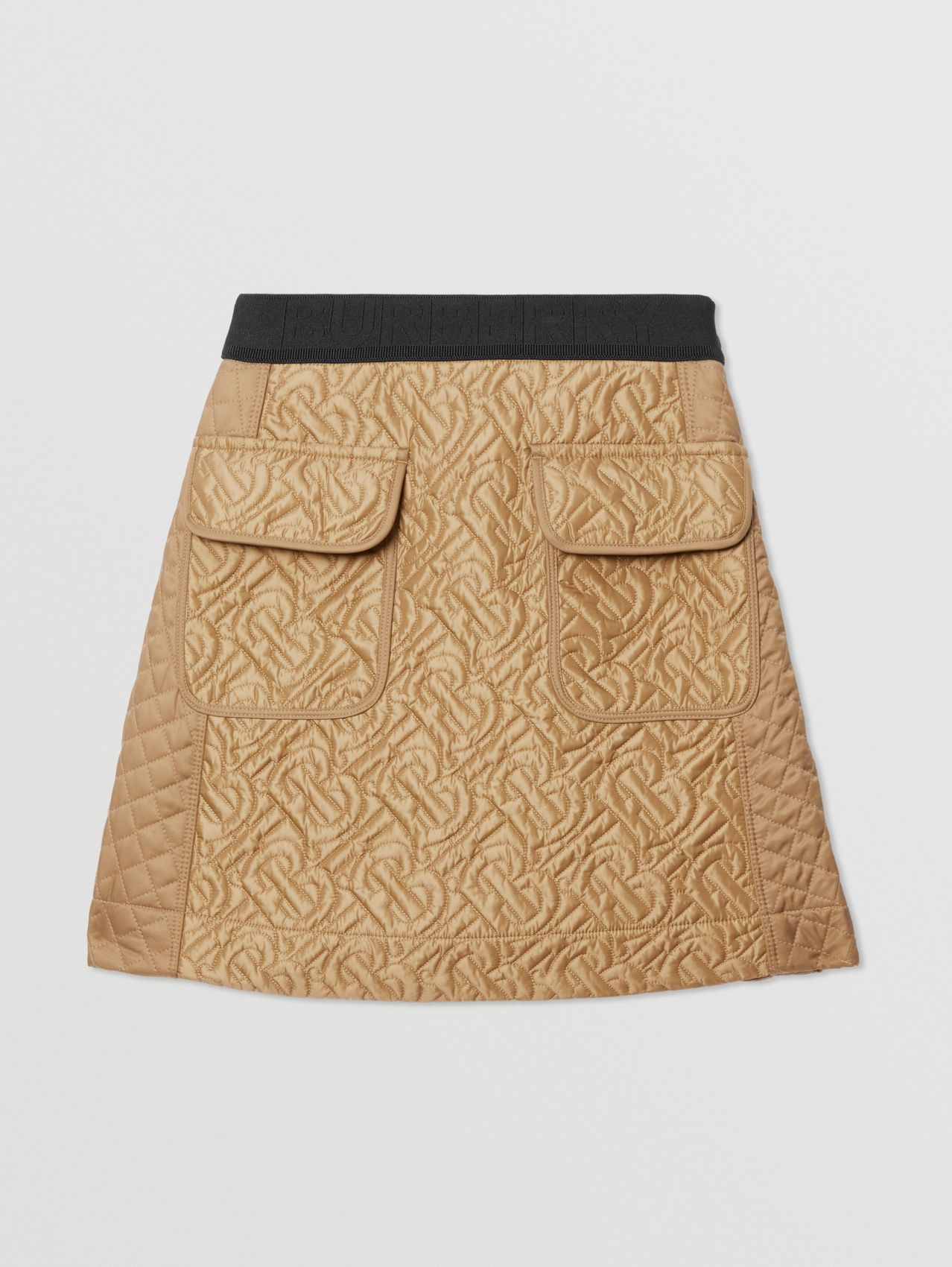 Monogram Quilted Panel Recycled Polyester Skirt in Honey