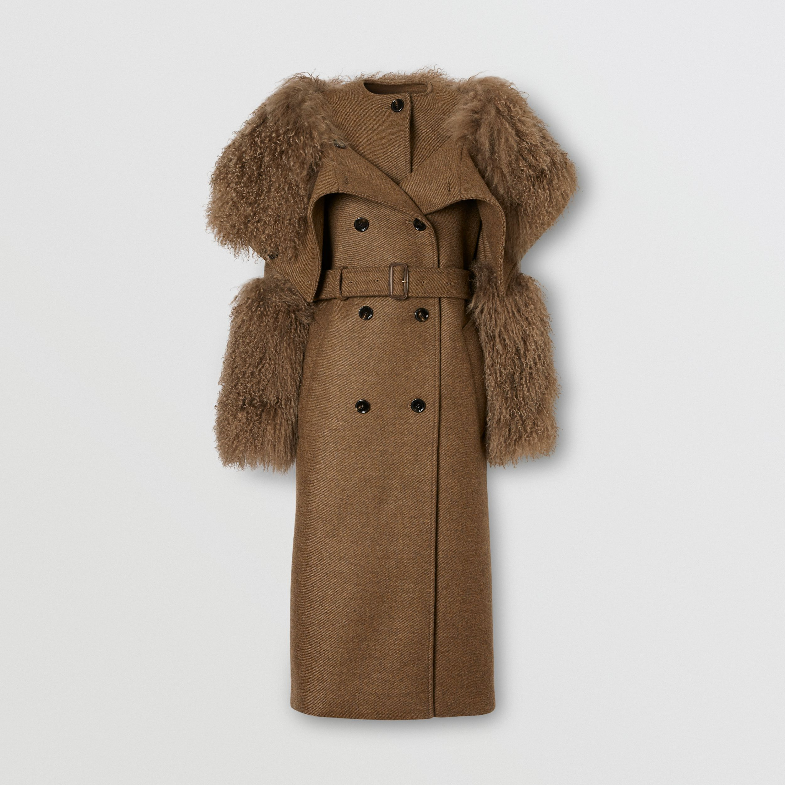 Shearling Trim Wool Cashmere Trench Coat in Dark Mahogany - Women | Burberry Australia - 4
