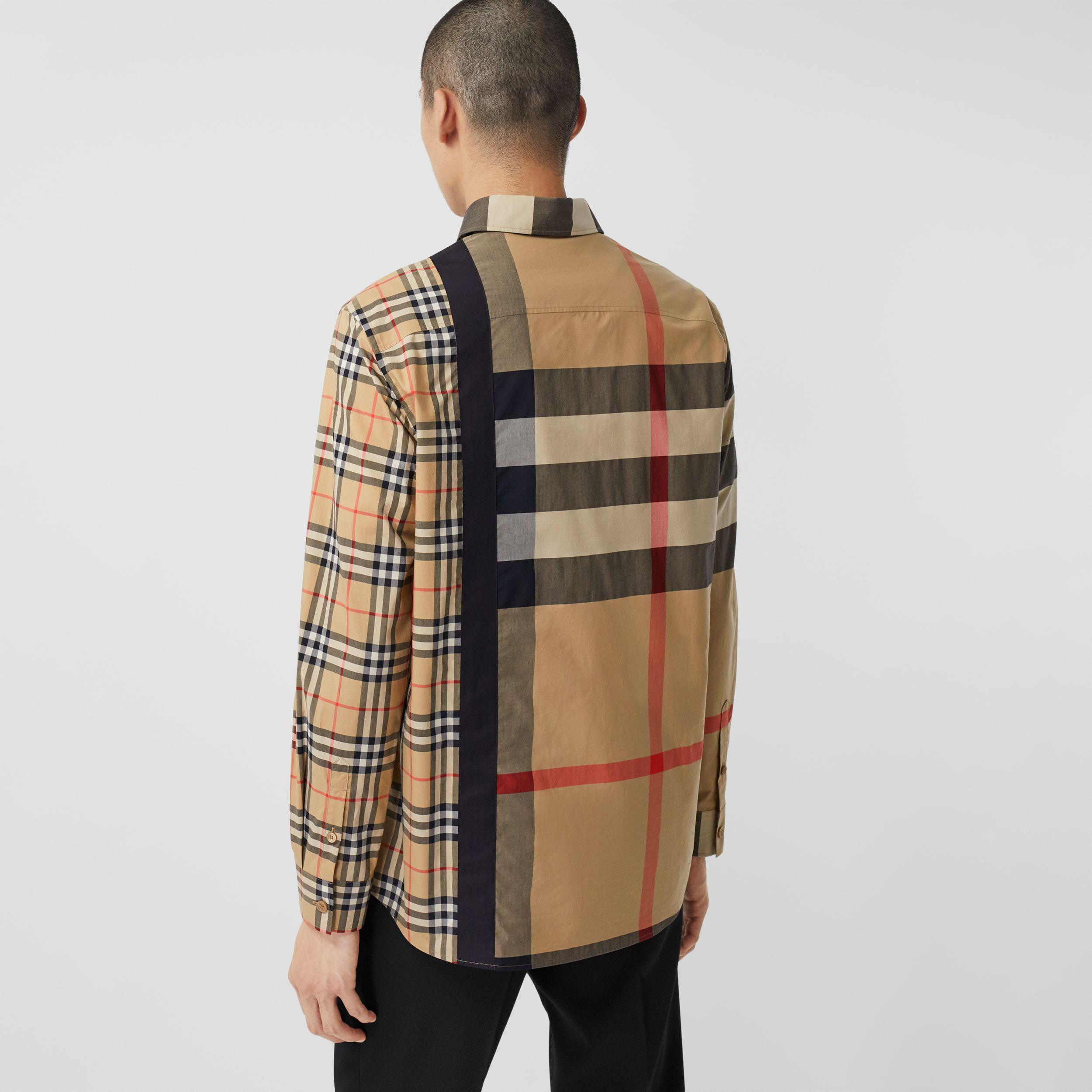 Logo Print Patchwork Check Cotton Oversized Shirt in Archive Beige - Men | Burberry - 3
