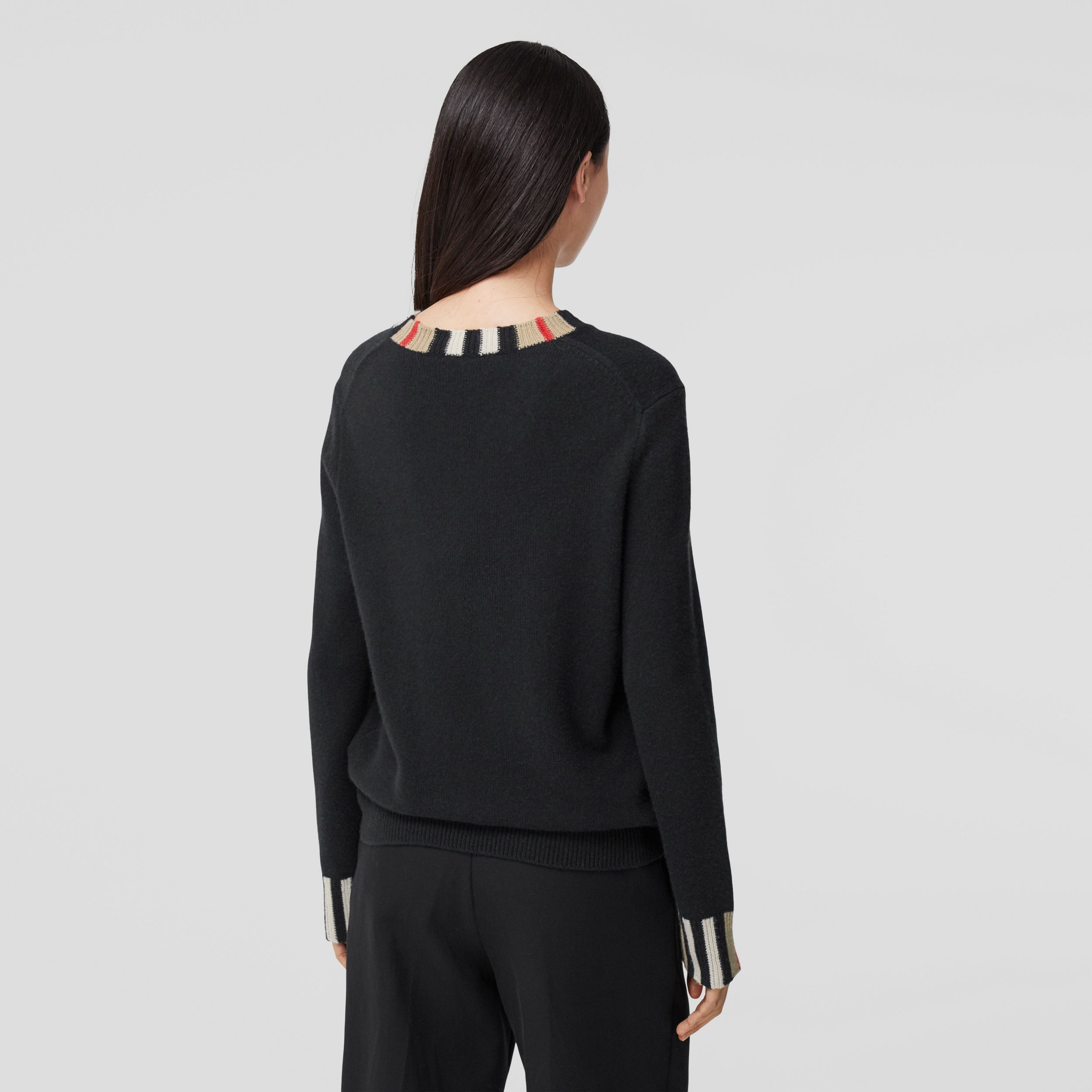 Icon Stripe Trim Cashmere Sweater in Black - Women | Burberry - 3