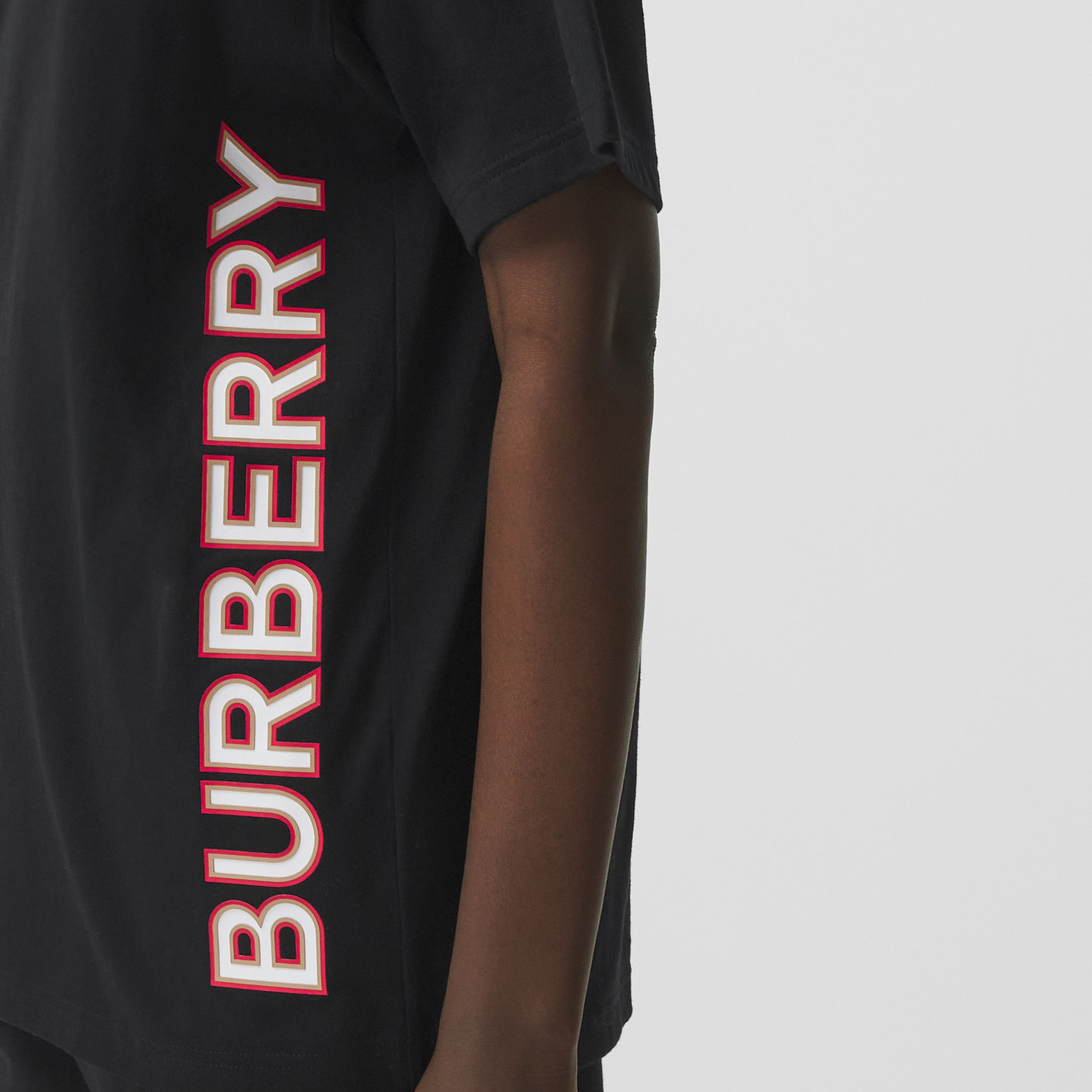 Logo Print Cotton Oversized T-shirt in Black - Women | Burberry - 2
