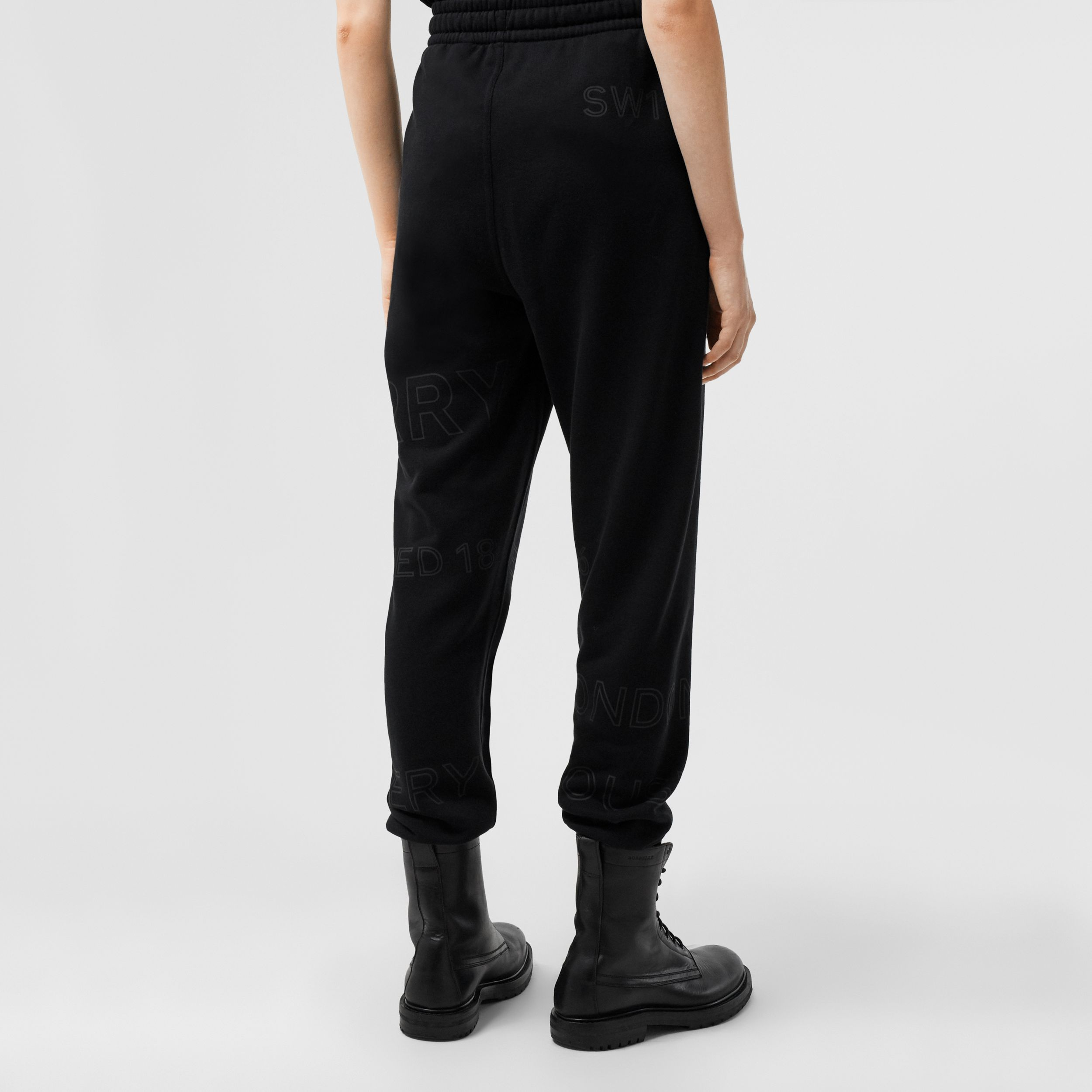 Horseferry Print Cotton Jogging Pants in Black - Women | Burberry - 3