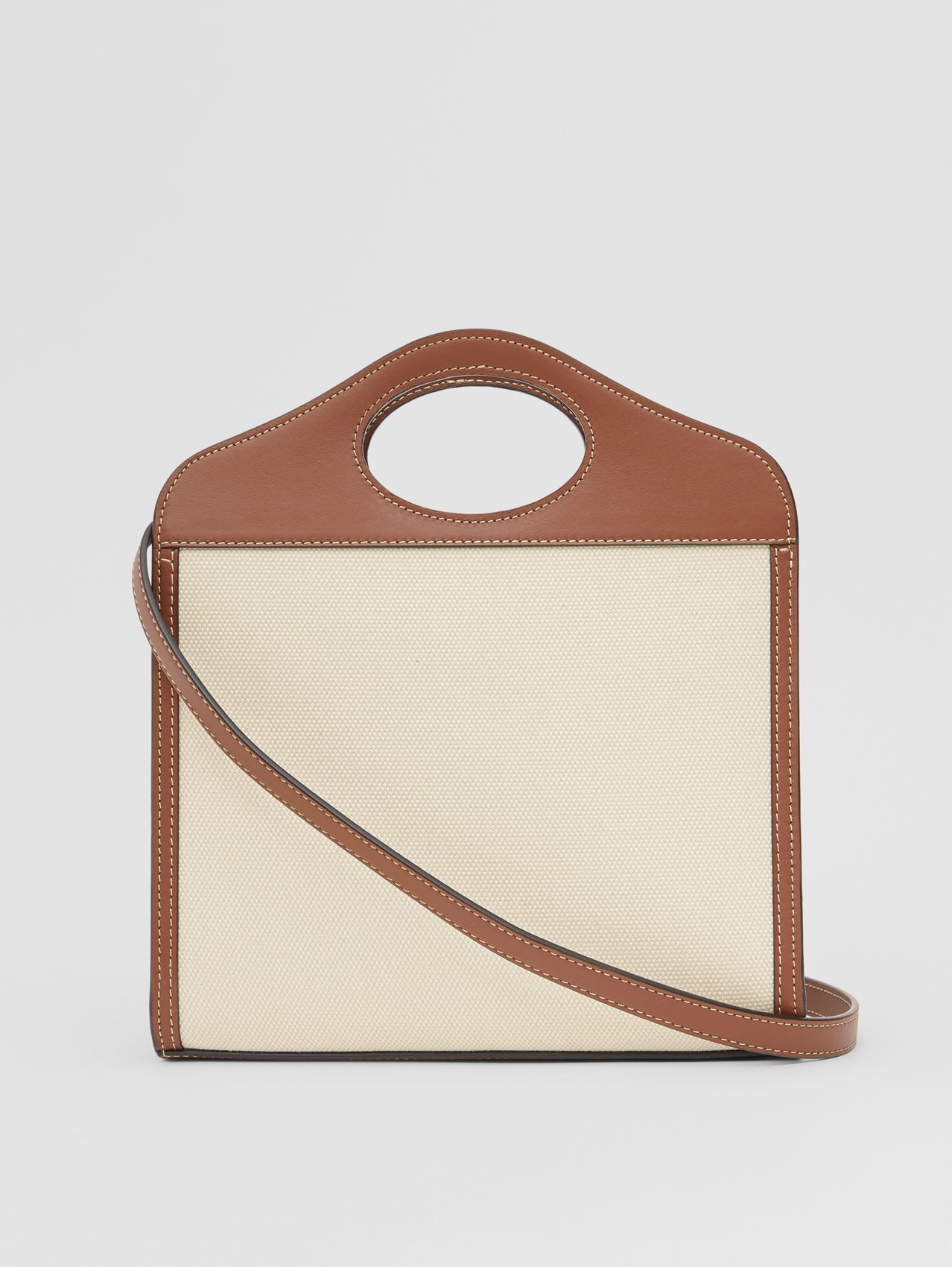 Medium Two-tone Canvas and Leather Pocket Bag
