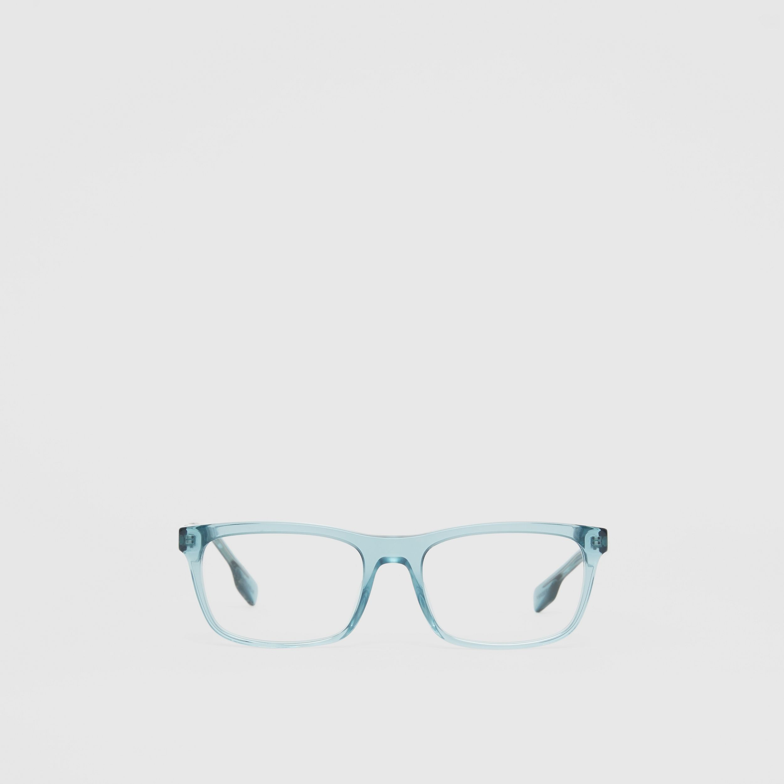 Icon Stripe Detail Rectangular Optical Frames in Petrol Blue - Men | Burberry - 1