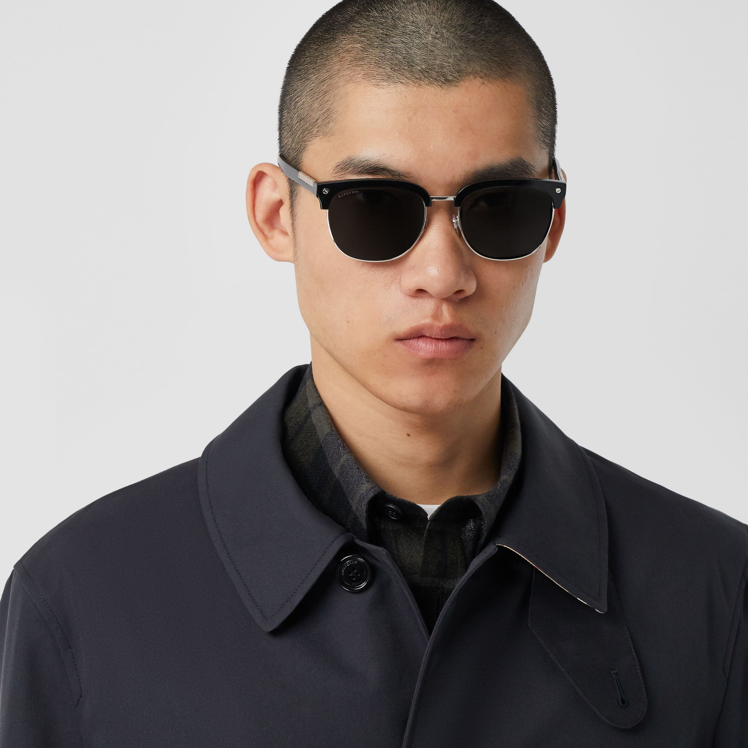 Organic Cotton Gabardine Car Coat in Midnight - Men | Burberry Australia - 2