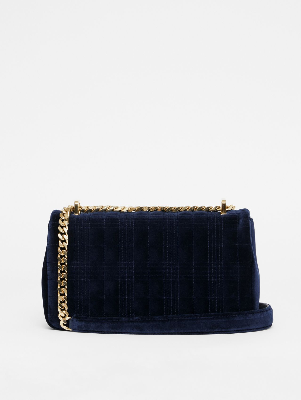 Small Quilted Velvet Lola Bag in Navy