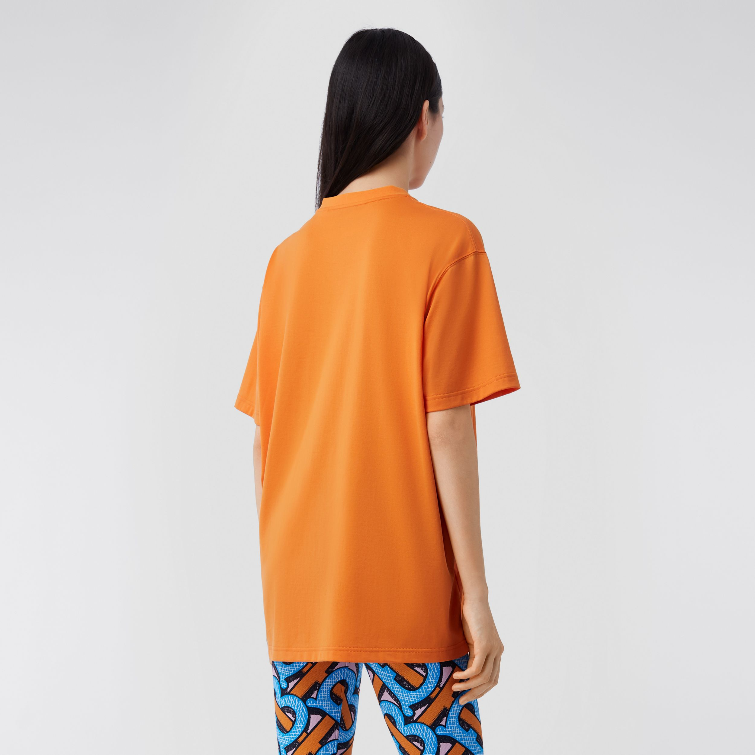 Monogram Motif Cotton T-shirt – Unisex in Bright Orange | Burberry United Kingdom - 3