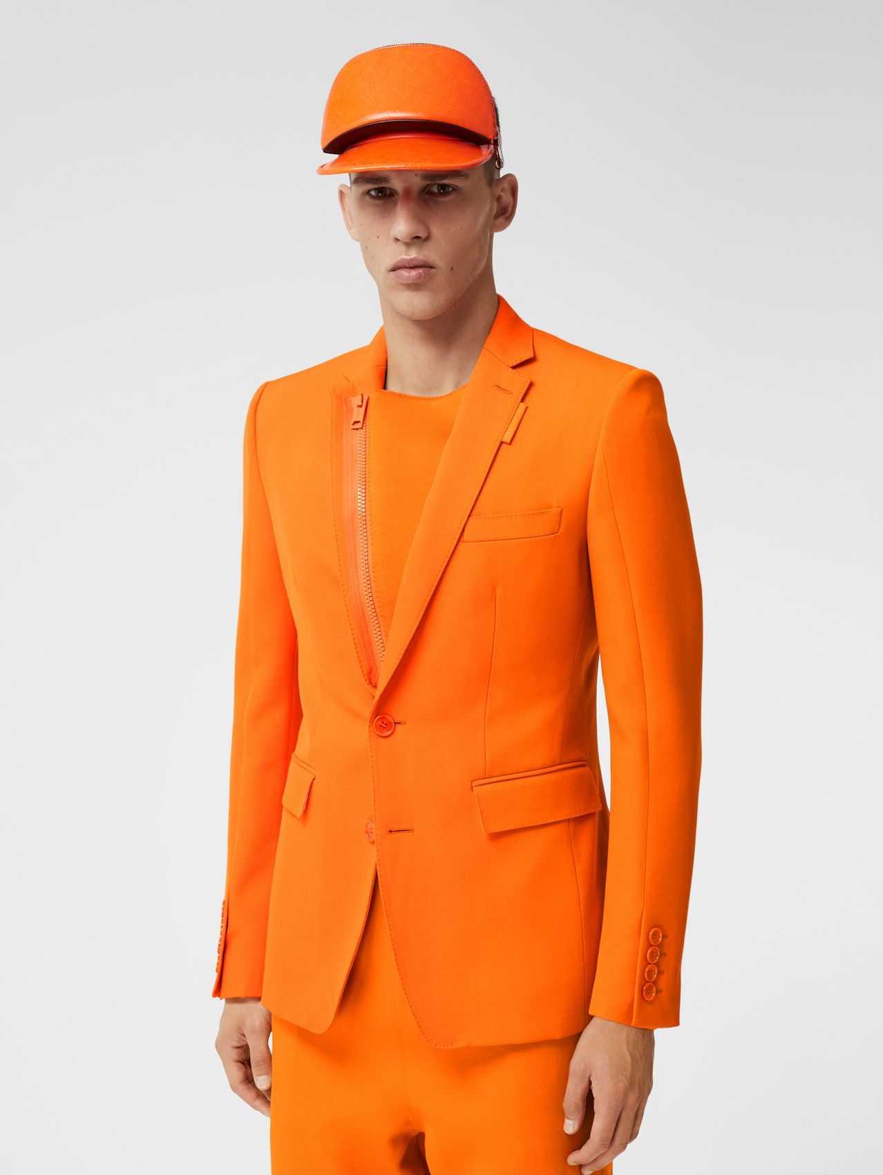 English Fit Grain De Poudre Wool Tailored Jacket in Deep Orange