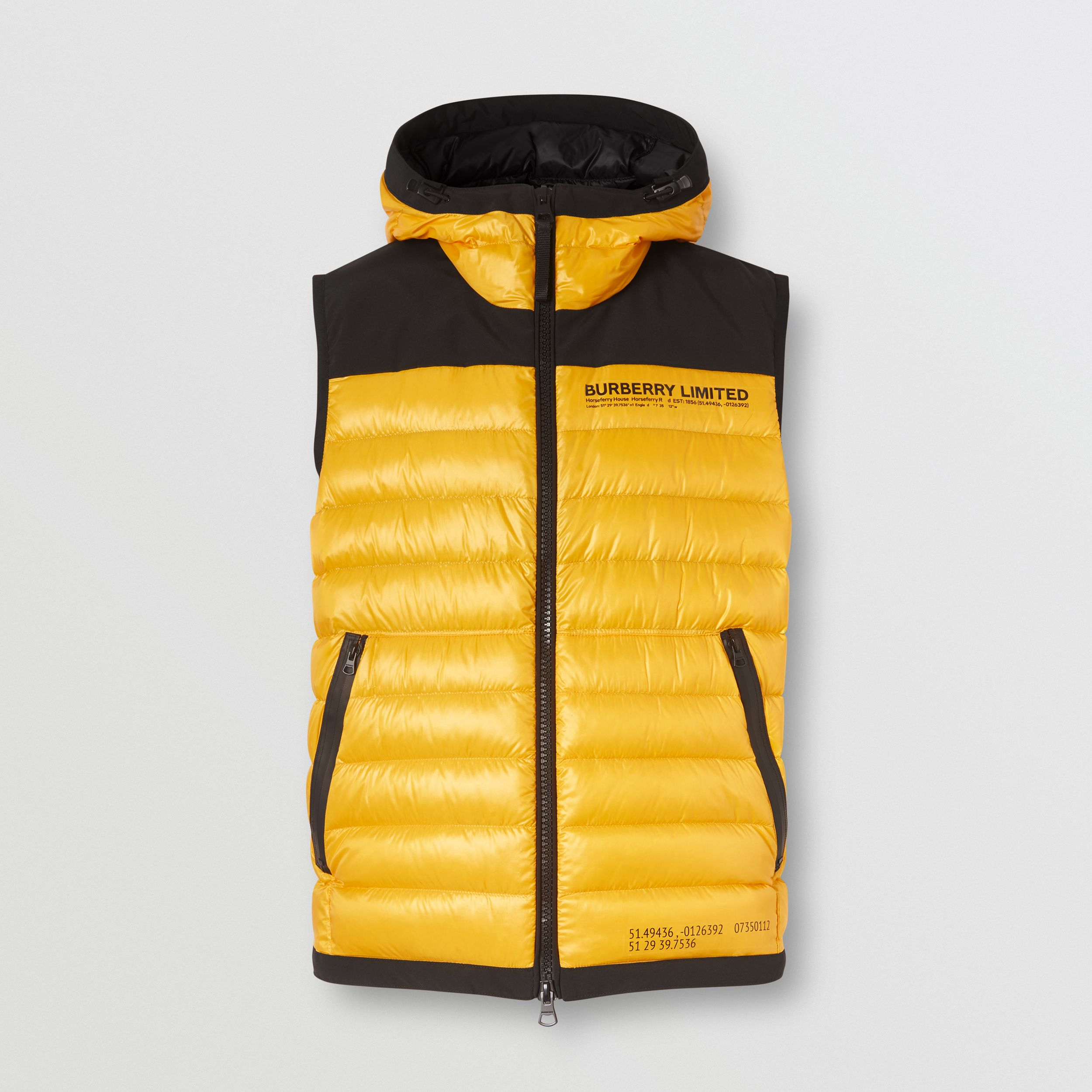 Hooded Location Print Puffer Gilet in Bright Yellow - Men | Burberry - 4