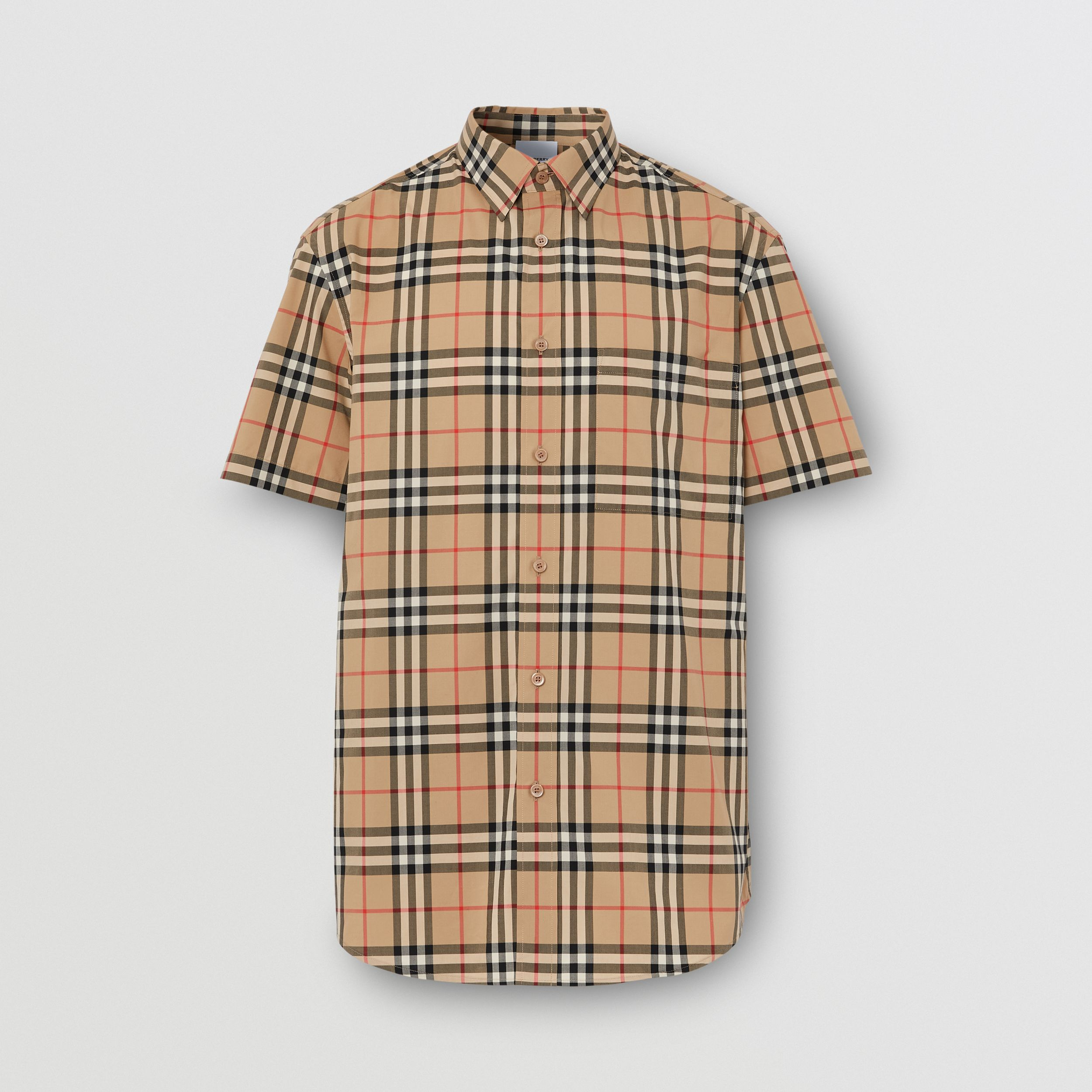 Short-sleeve Logo Appliqué Vintage Check Shirt in Archive Beige - Men | Burberry - 4