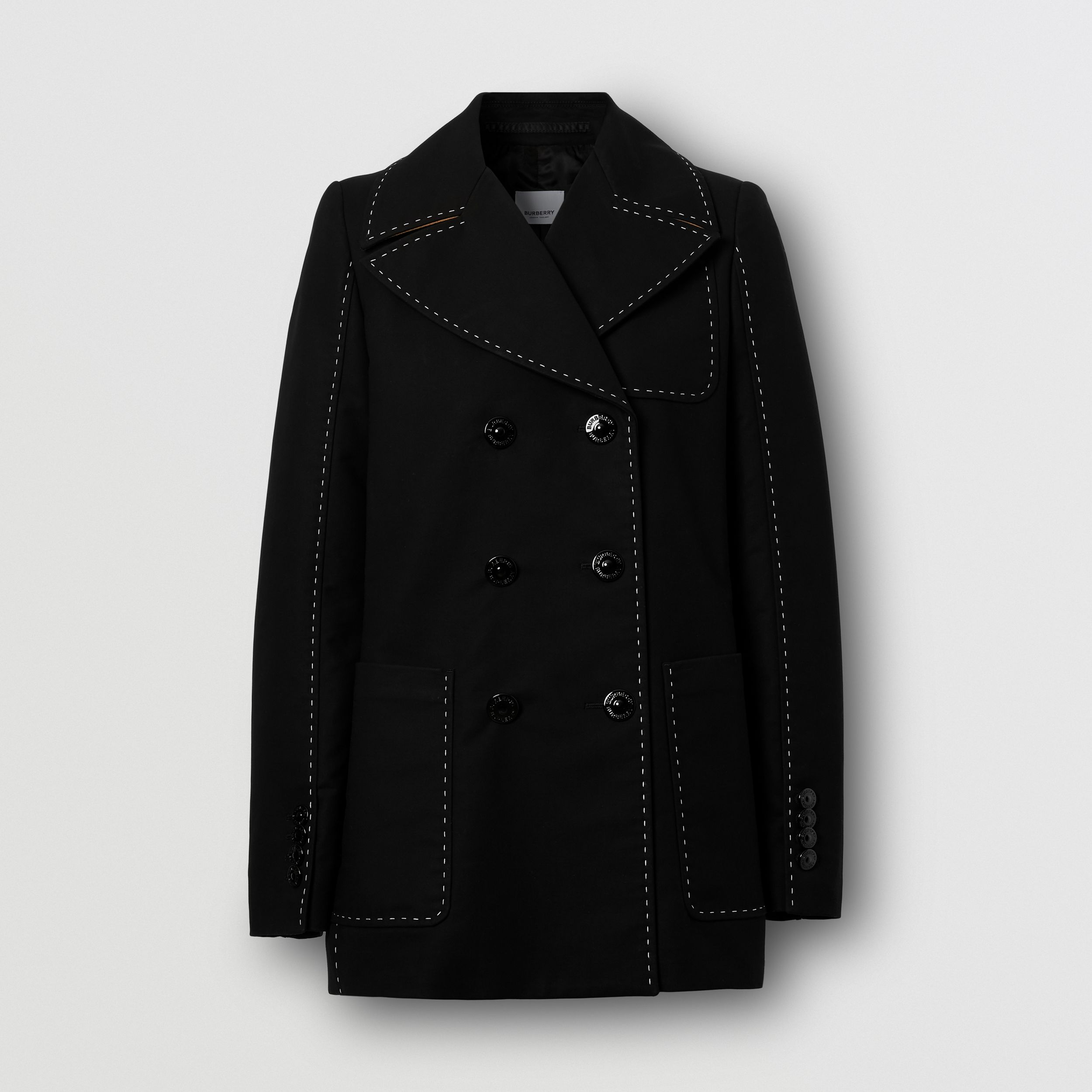 Topstitched Cotton Pea Coat in Black - Women | Burberry - 4