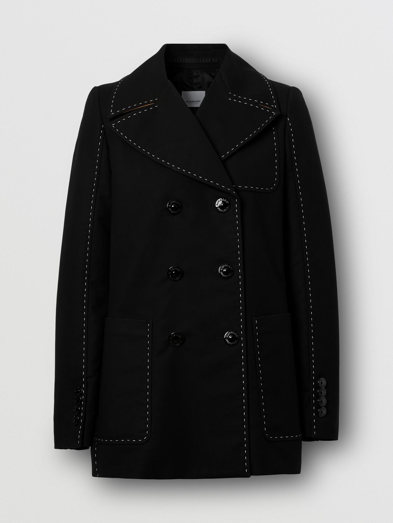Topstitched Cotton Pea Coat in Black