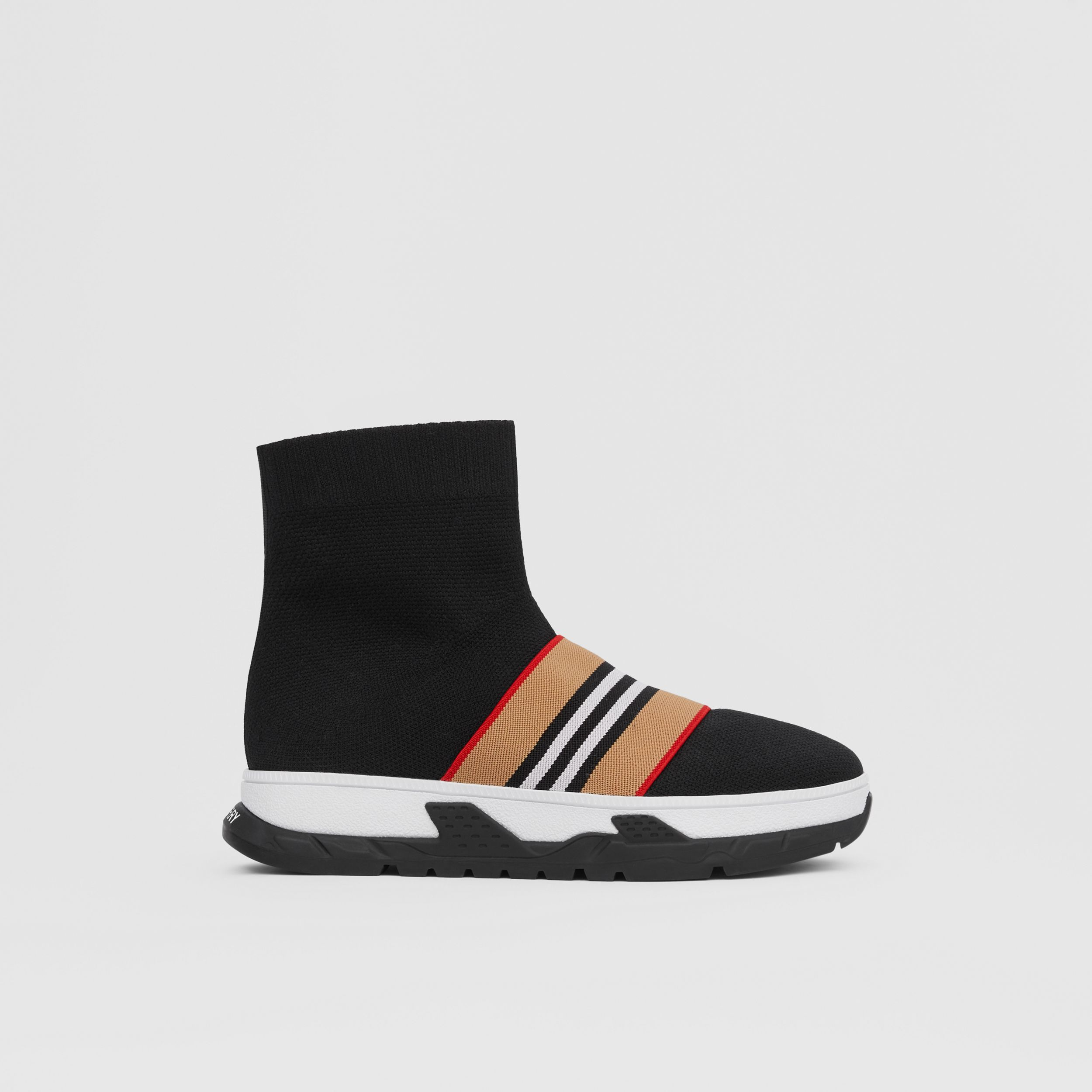 Icon Stripe Detail Stretch Knit Sock Sneakers in Black - Children | Burberry - 4