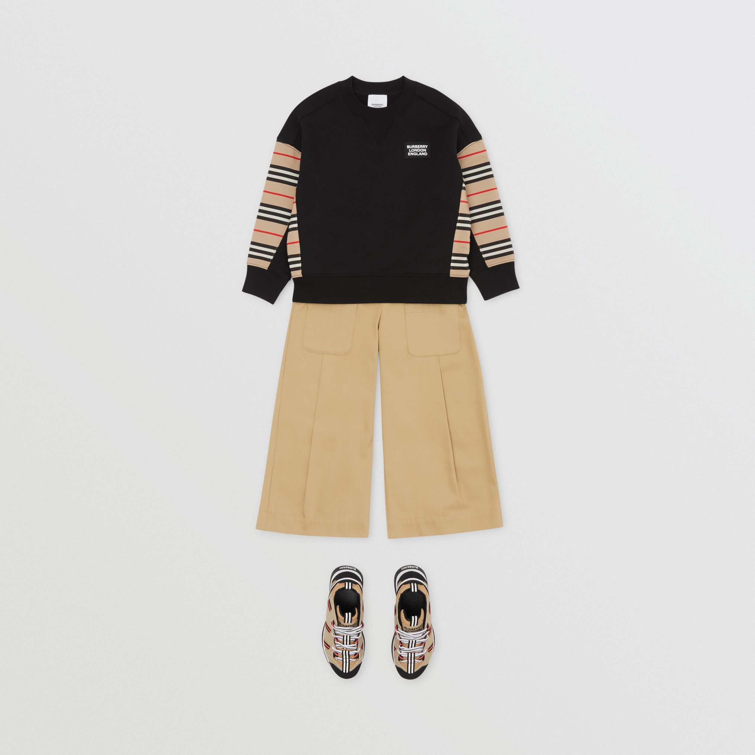 Icon Stripe Panel Cotton Sweatshirt | Burberry - 3