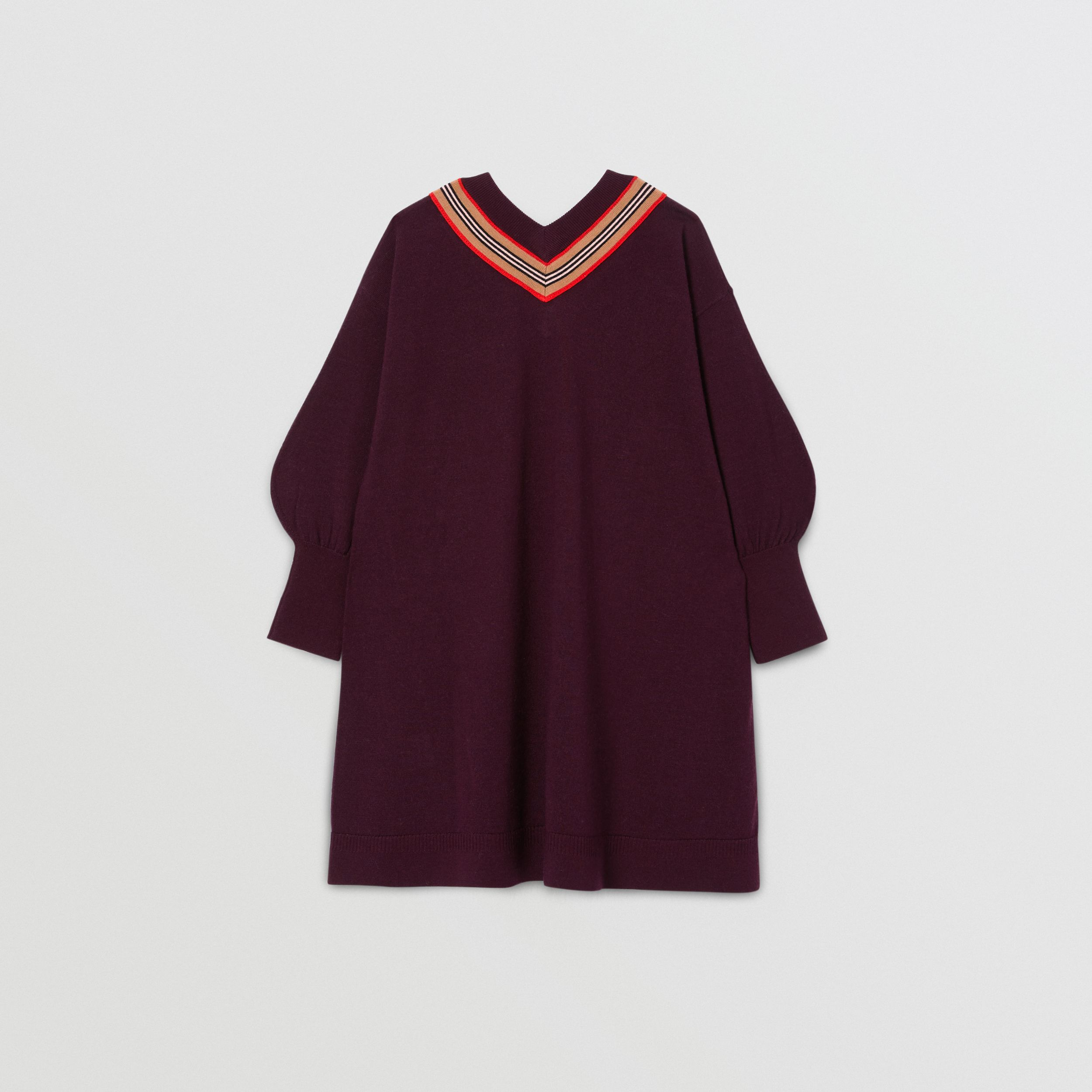 Icon Stripe Bow Merino Wool Silk Sweater Dress in Burgundy | Burberry Australia - 4