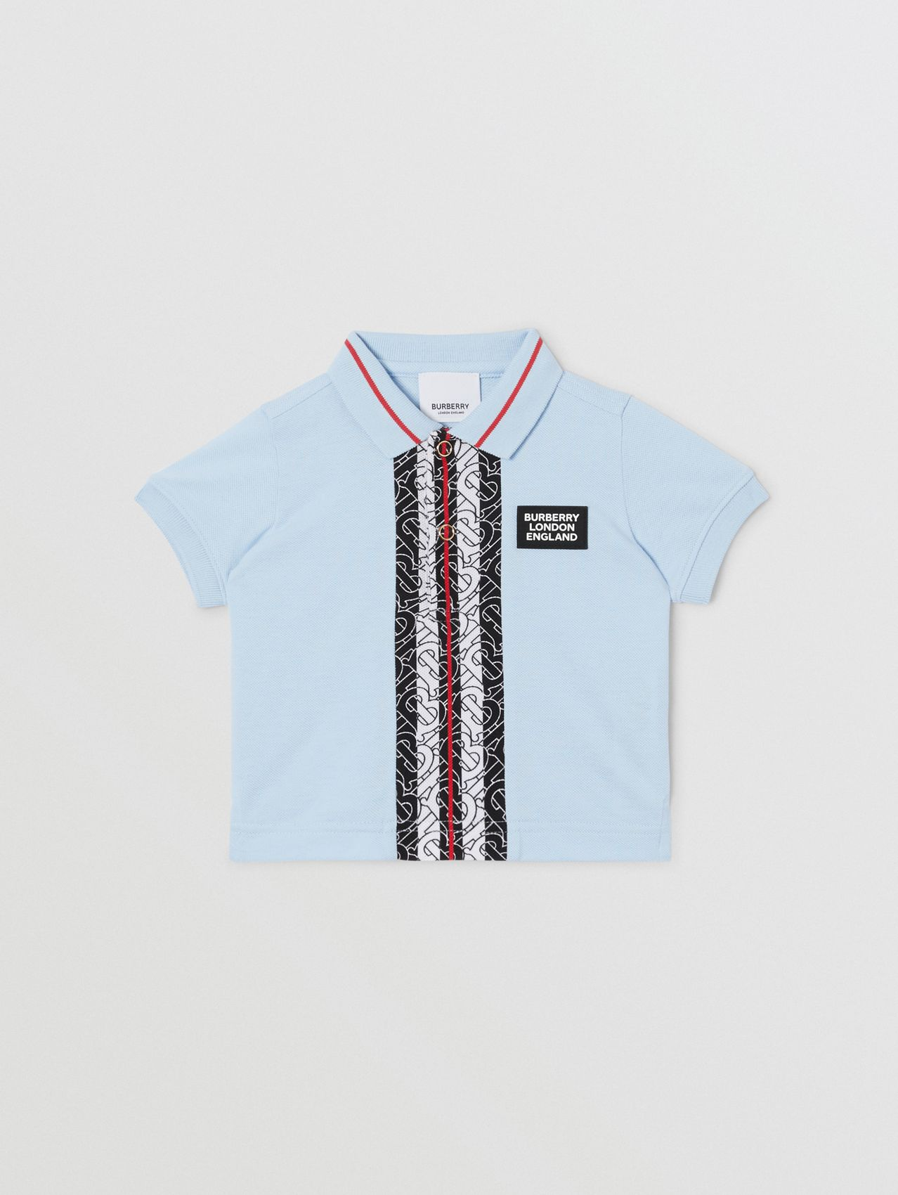 Monogram Stripe Print Cotton Piqué Polo Shirt in Pale Blue