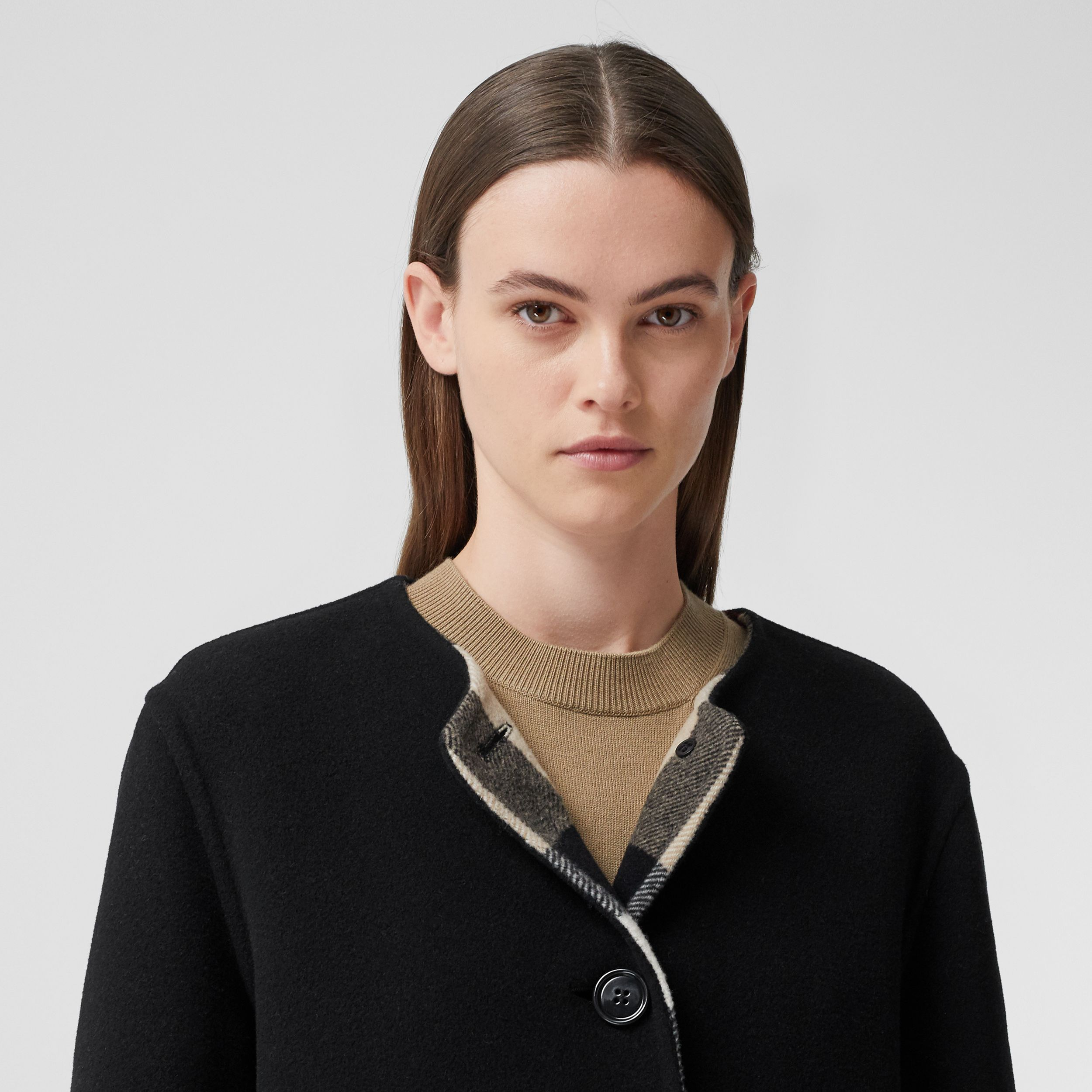 Reversible Check Technical Wool Coat in Black - Women | Burberry - 2
