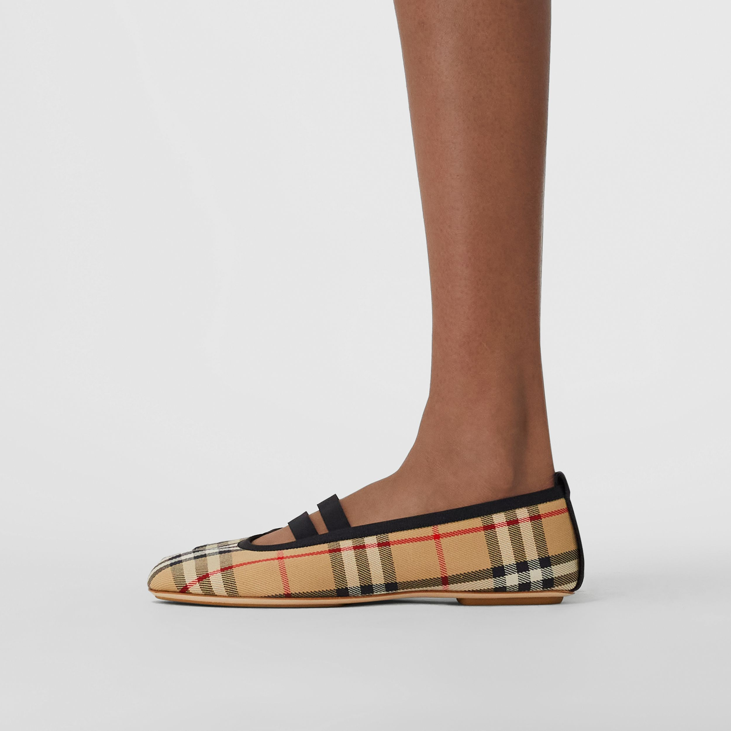 Logo Detail Vintage Check Cotton Ballerinas in Archive Beige - Women | Burberry - 3