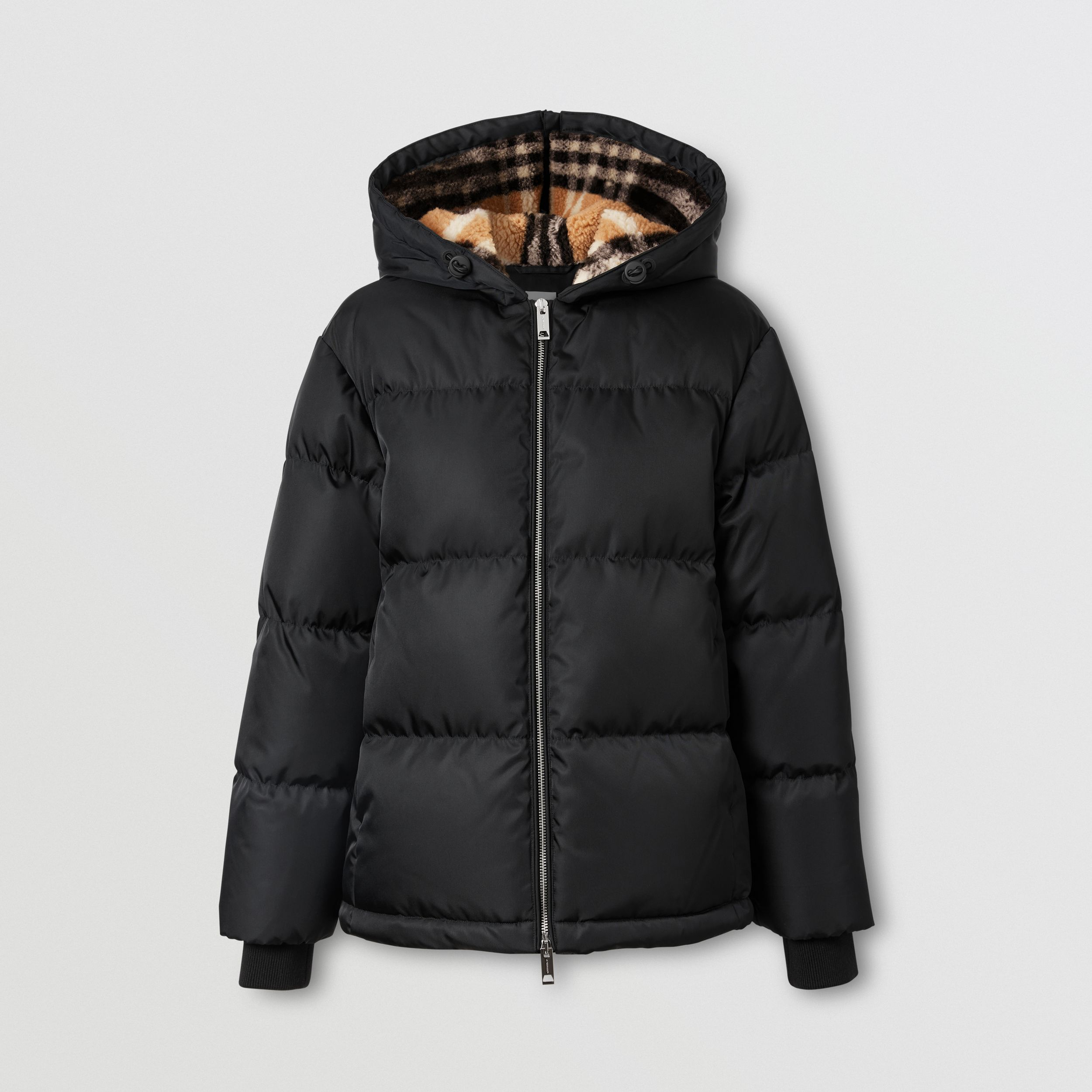 Check Fleece-lined Hood ECONYL® Puffer Jacket in Black - Women | Burberry - 4